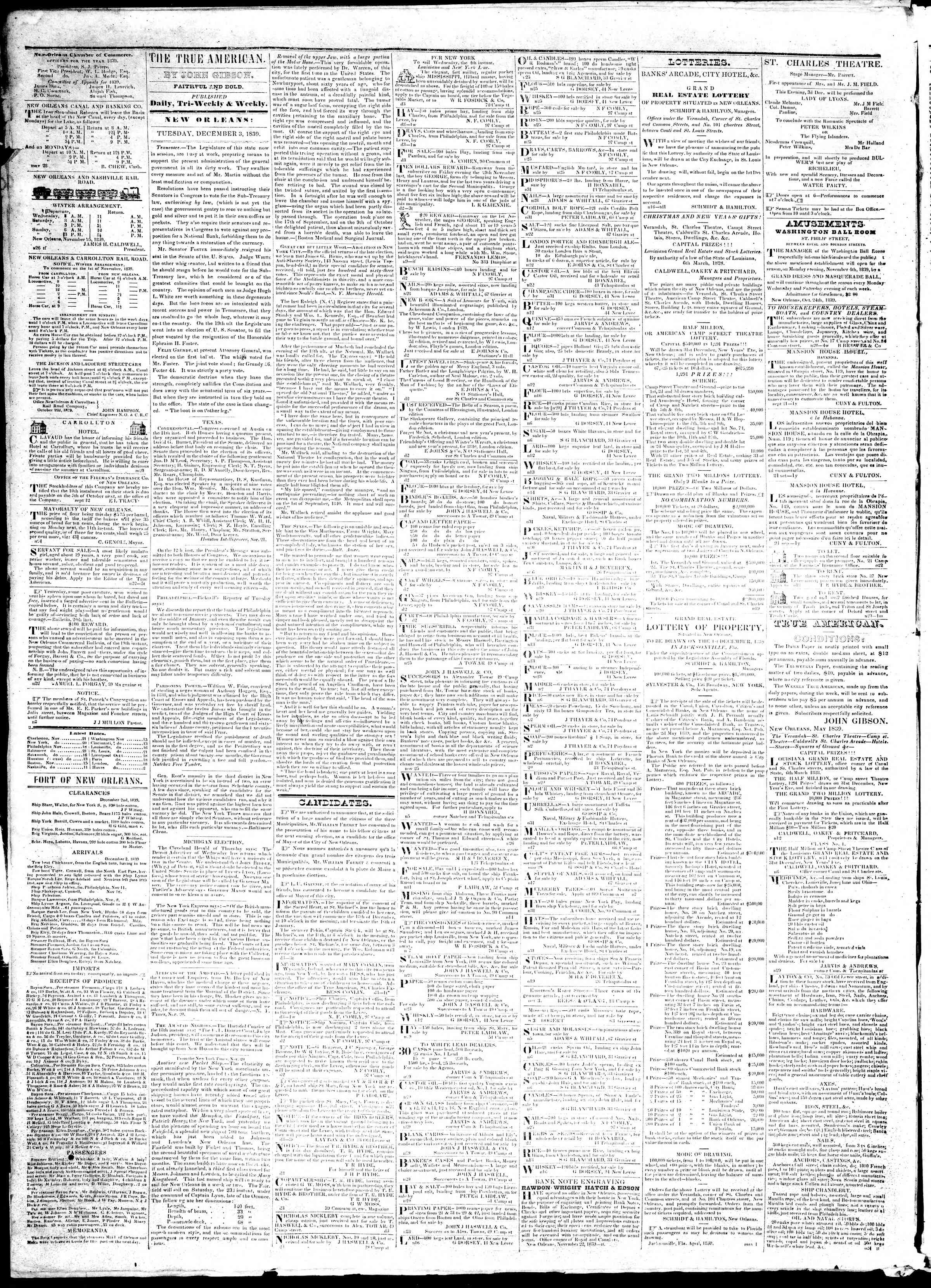 Newspaper of True American dated December 3, 1839 Page 2