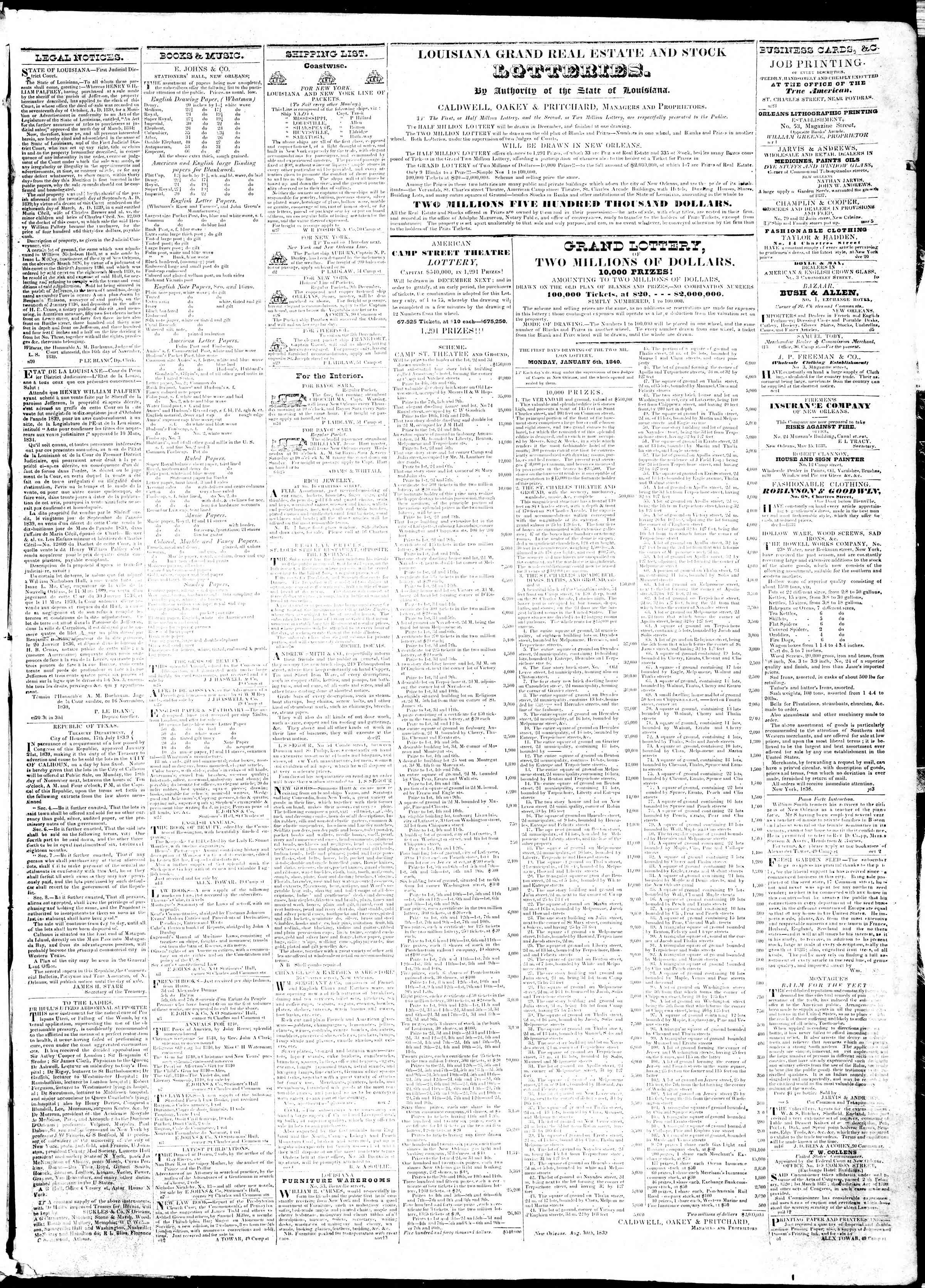 Newspaper of True American dated December 3, 1839 Page 3