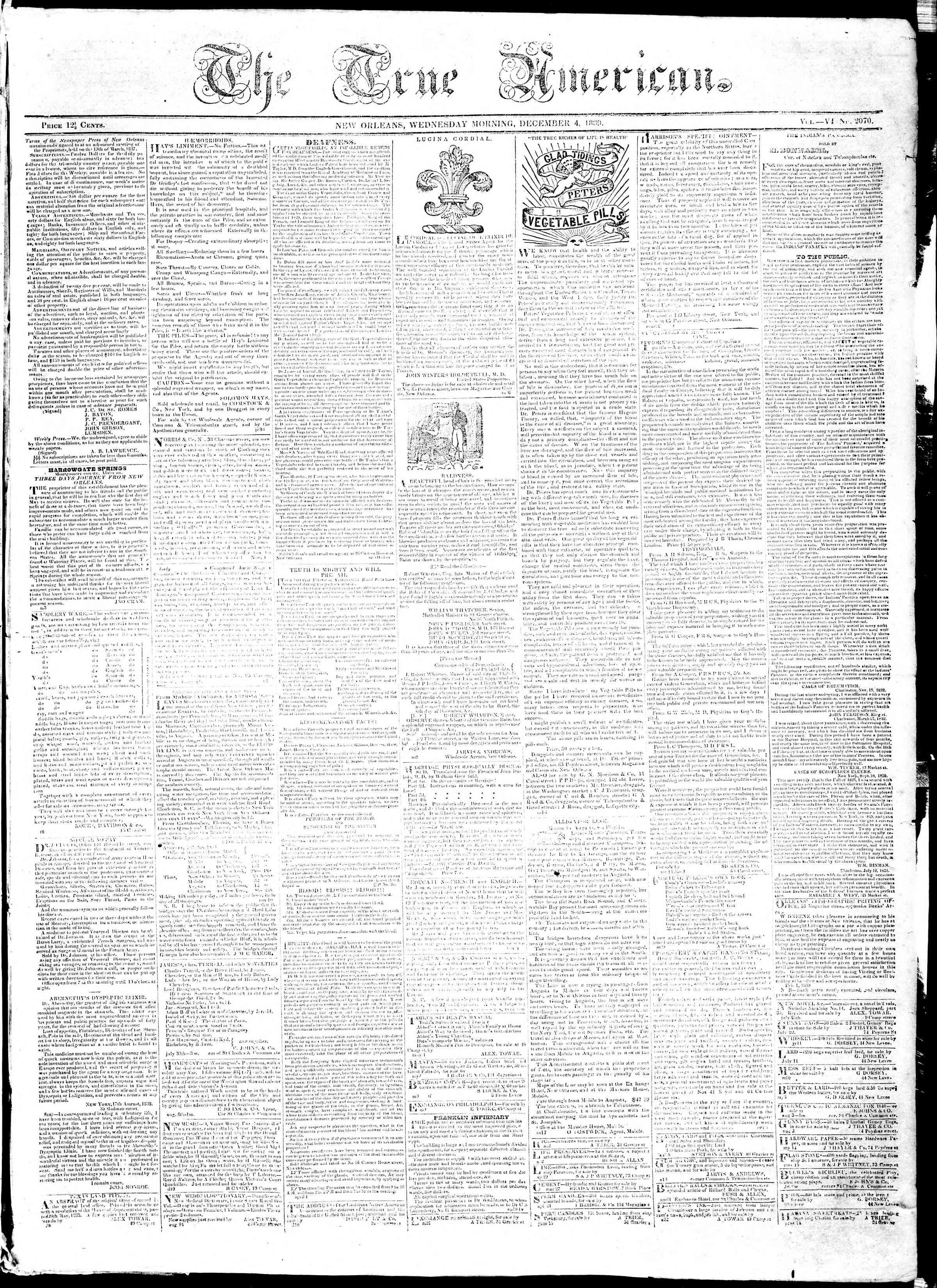 4 Aralık 1839 Tarihli True American Gazetesi Sayfa 1