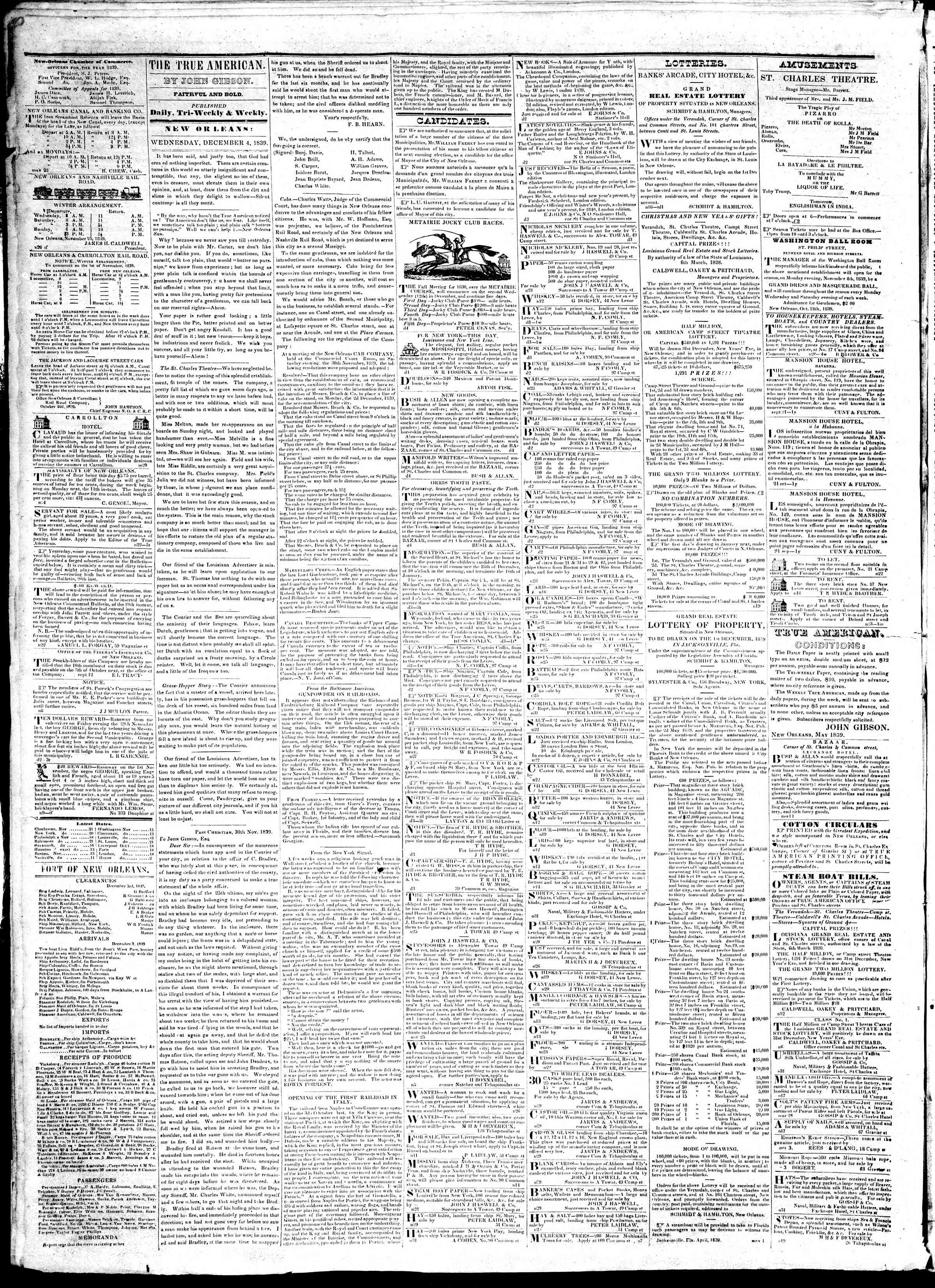 Newspaper of True American dated December 4, 1839 Page 2
