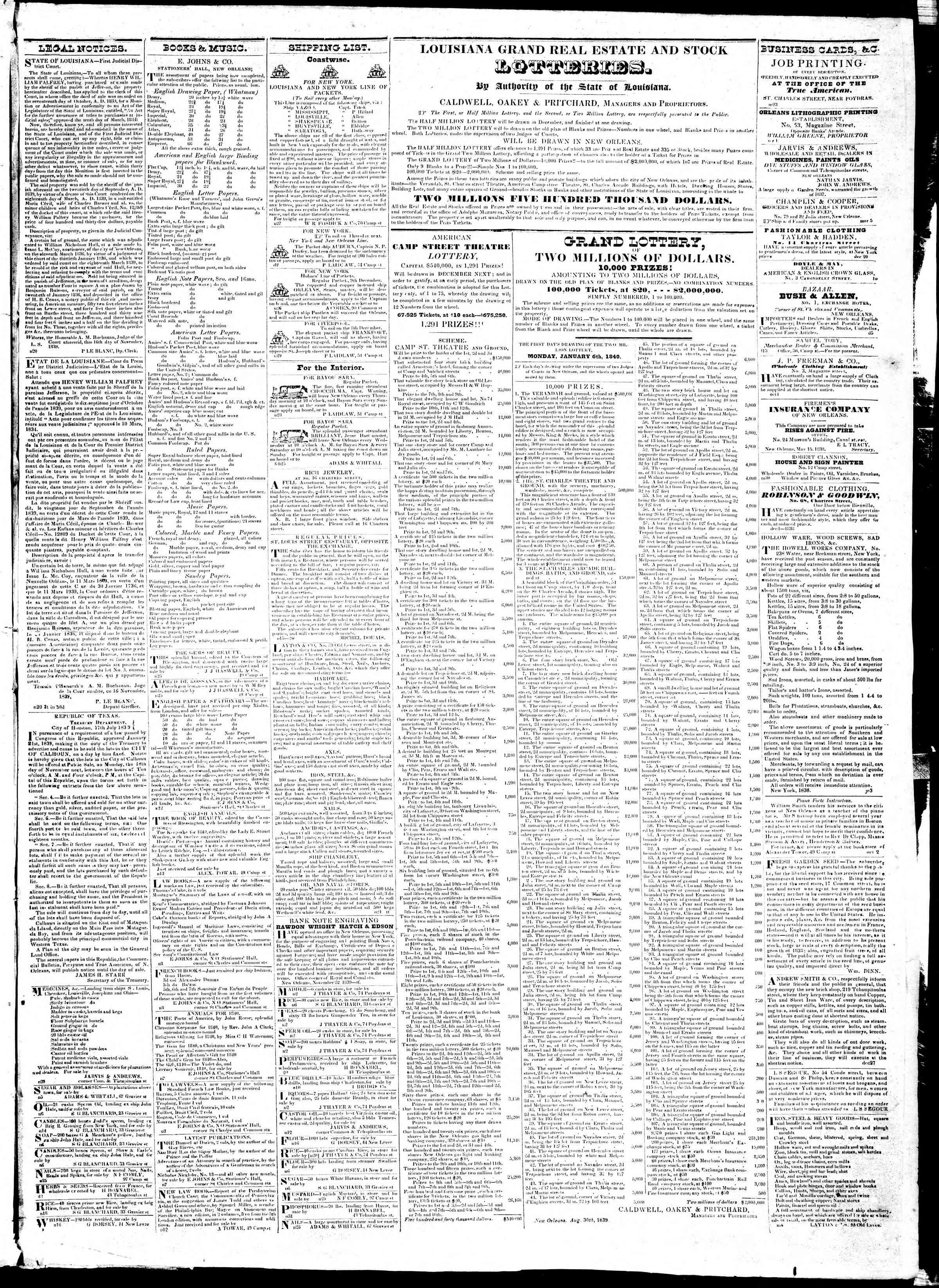 December 4, 1839 Tarihli True American Gazetesi Sayfa 3