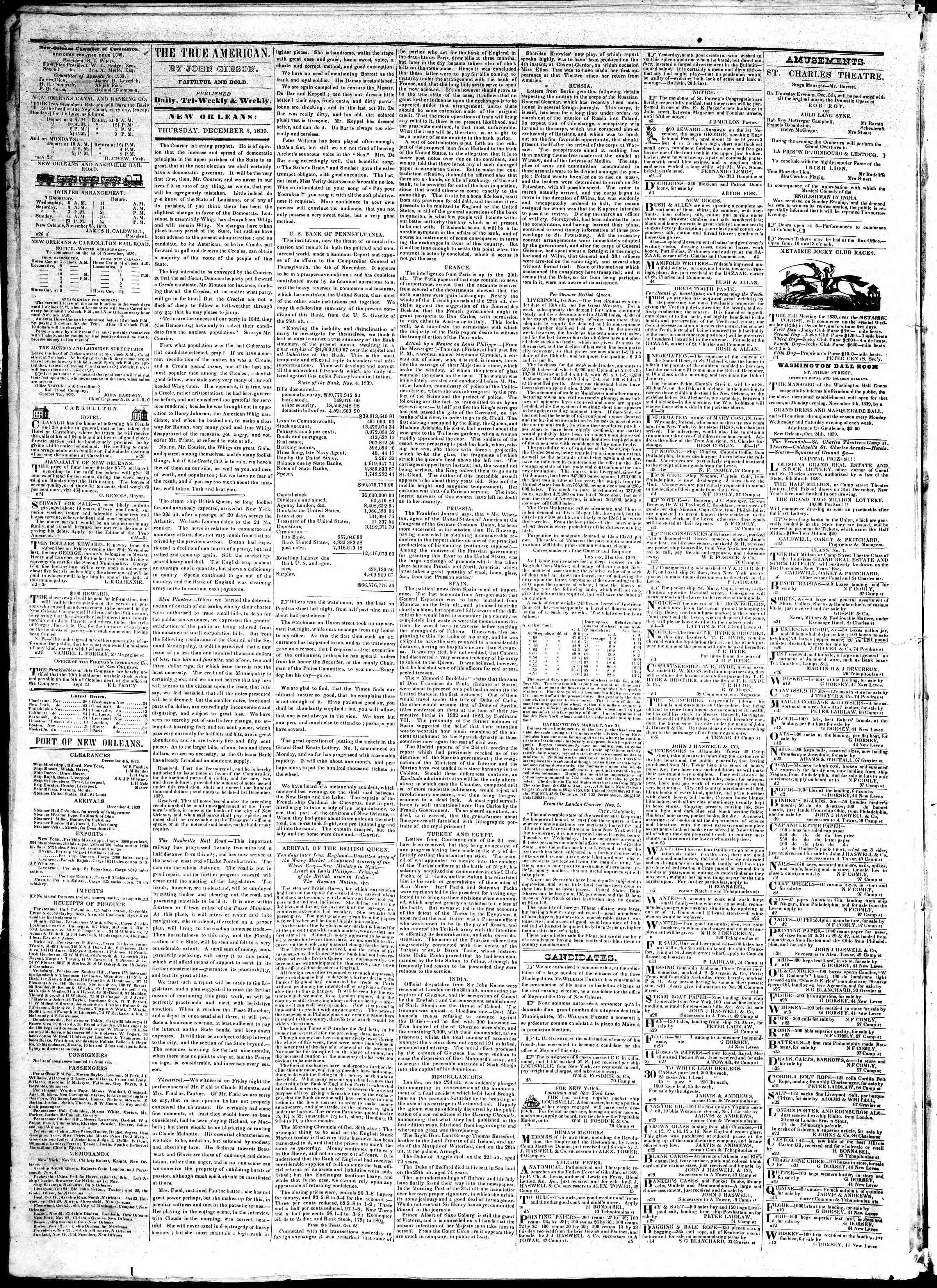 Newspaper of True American dated December 5, 1839 Page 2