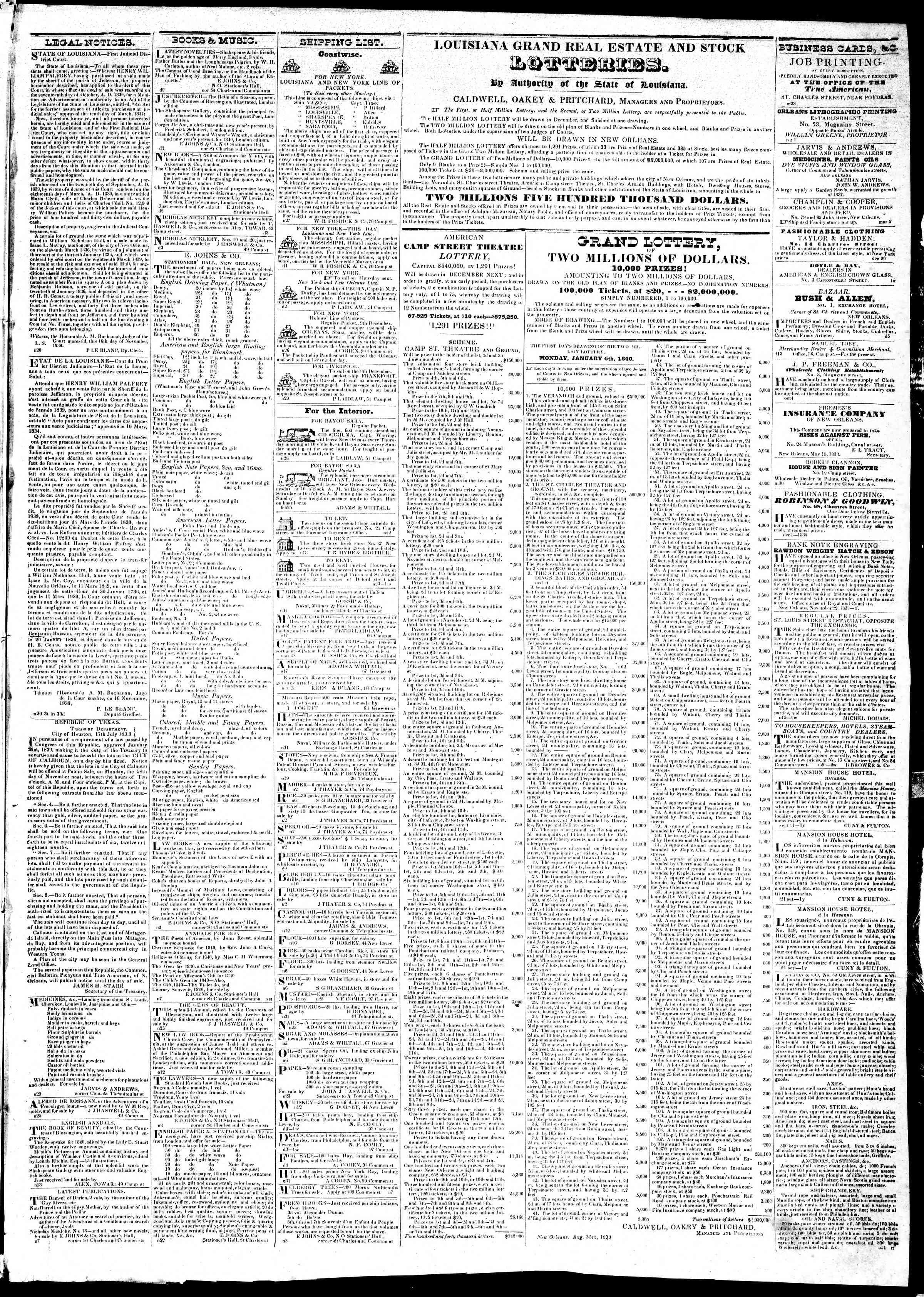 December 5, 1839 Tarihli True American Gazetesi Sayfa 3