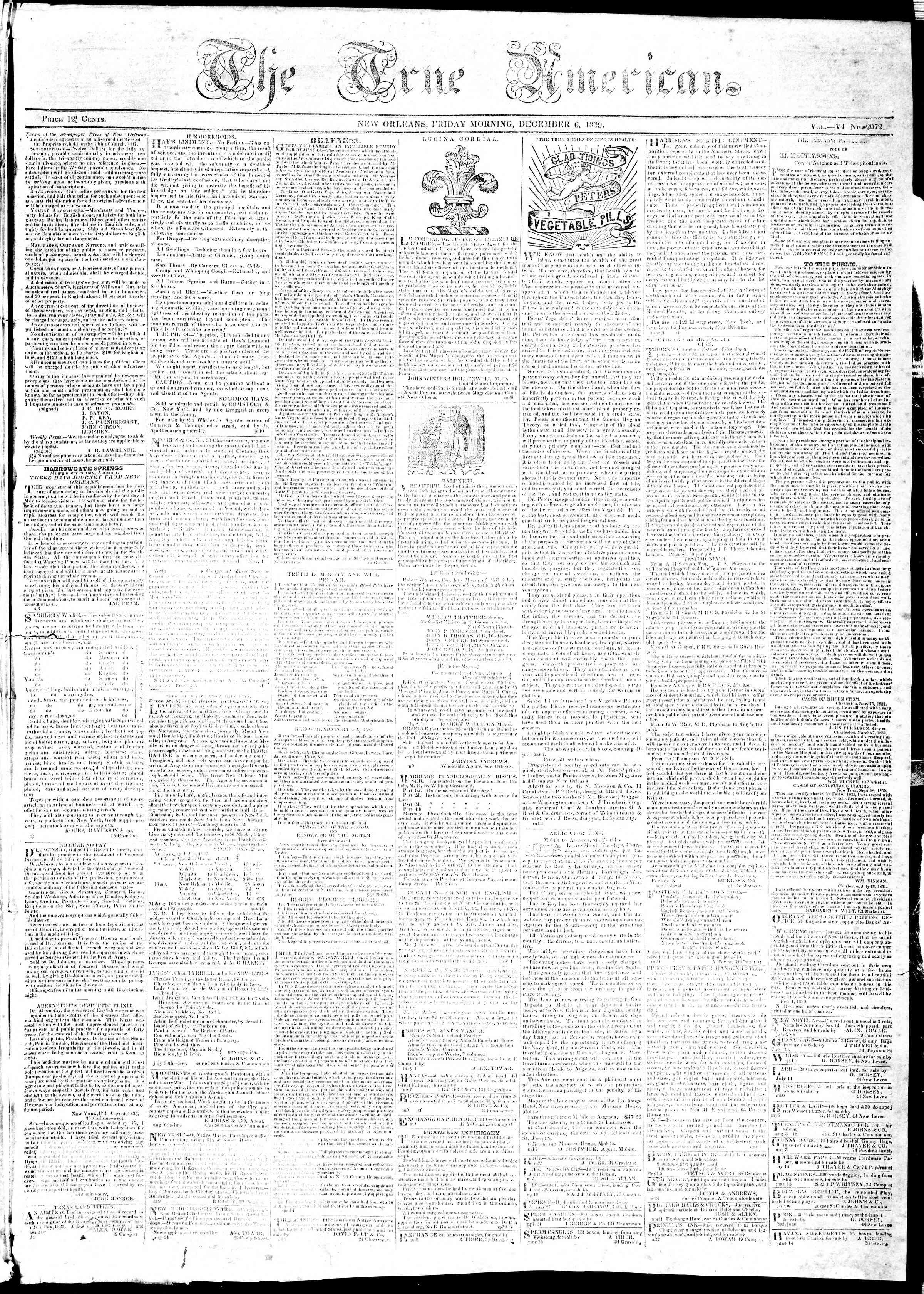 December 6, 1839 Tarihli True American Gazetesi Sayfa 1
