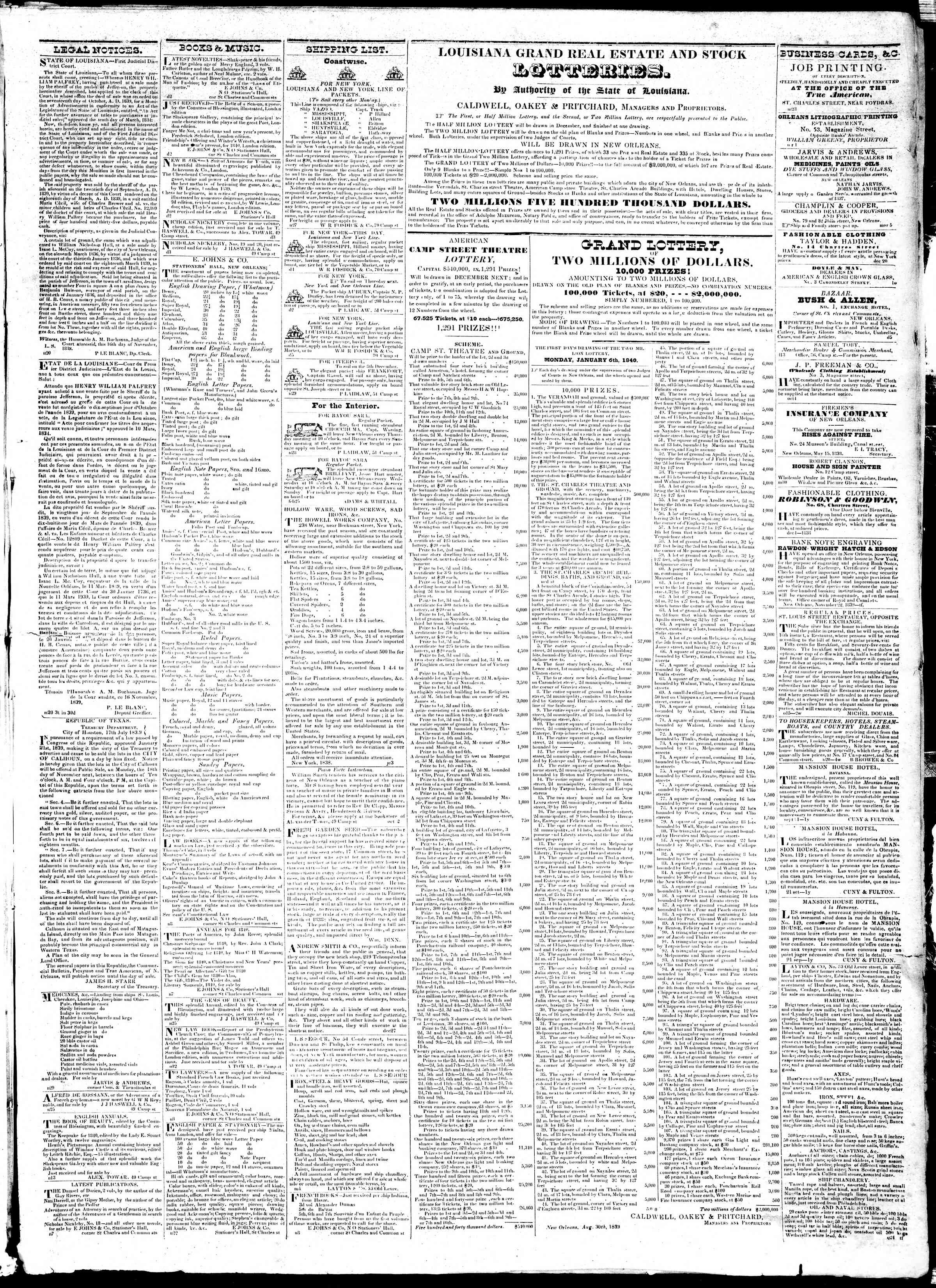 Newspaper of True American dated December 6, 1839 Page 3