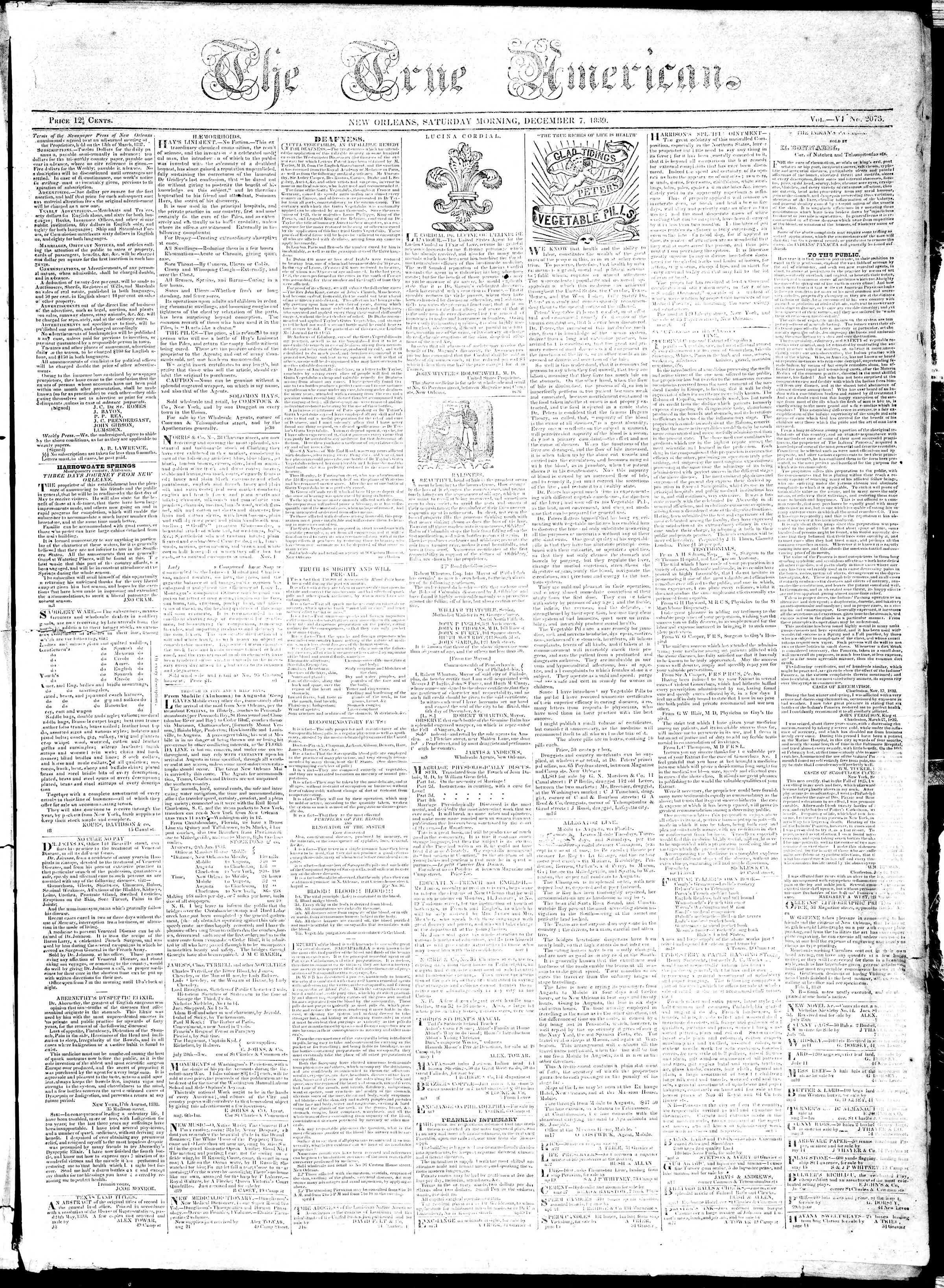 Newspaper of True American dated December 7, 1839 Page 1