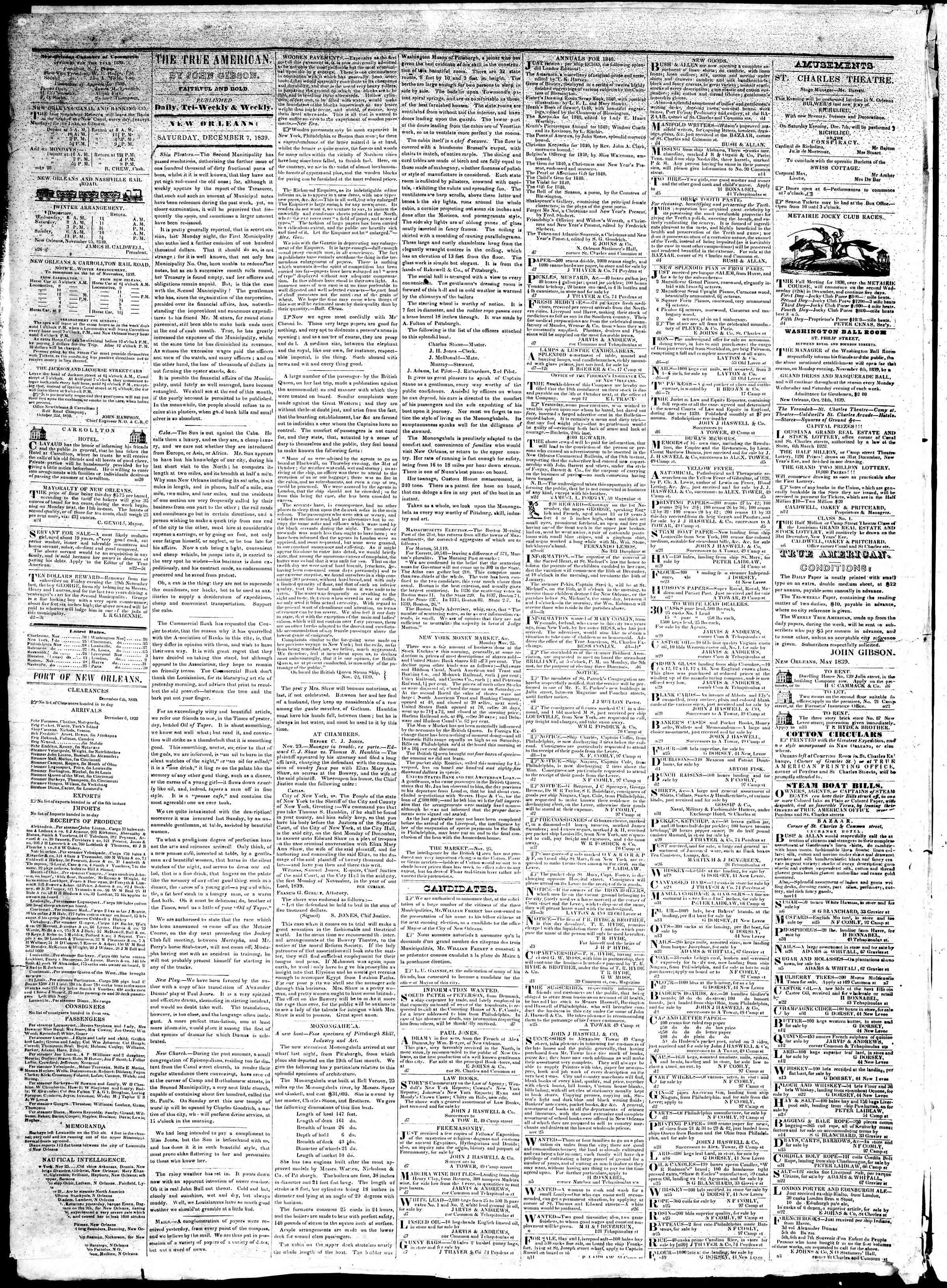 Newspaper of True American dated December 7, 1839 Page 2