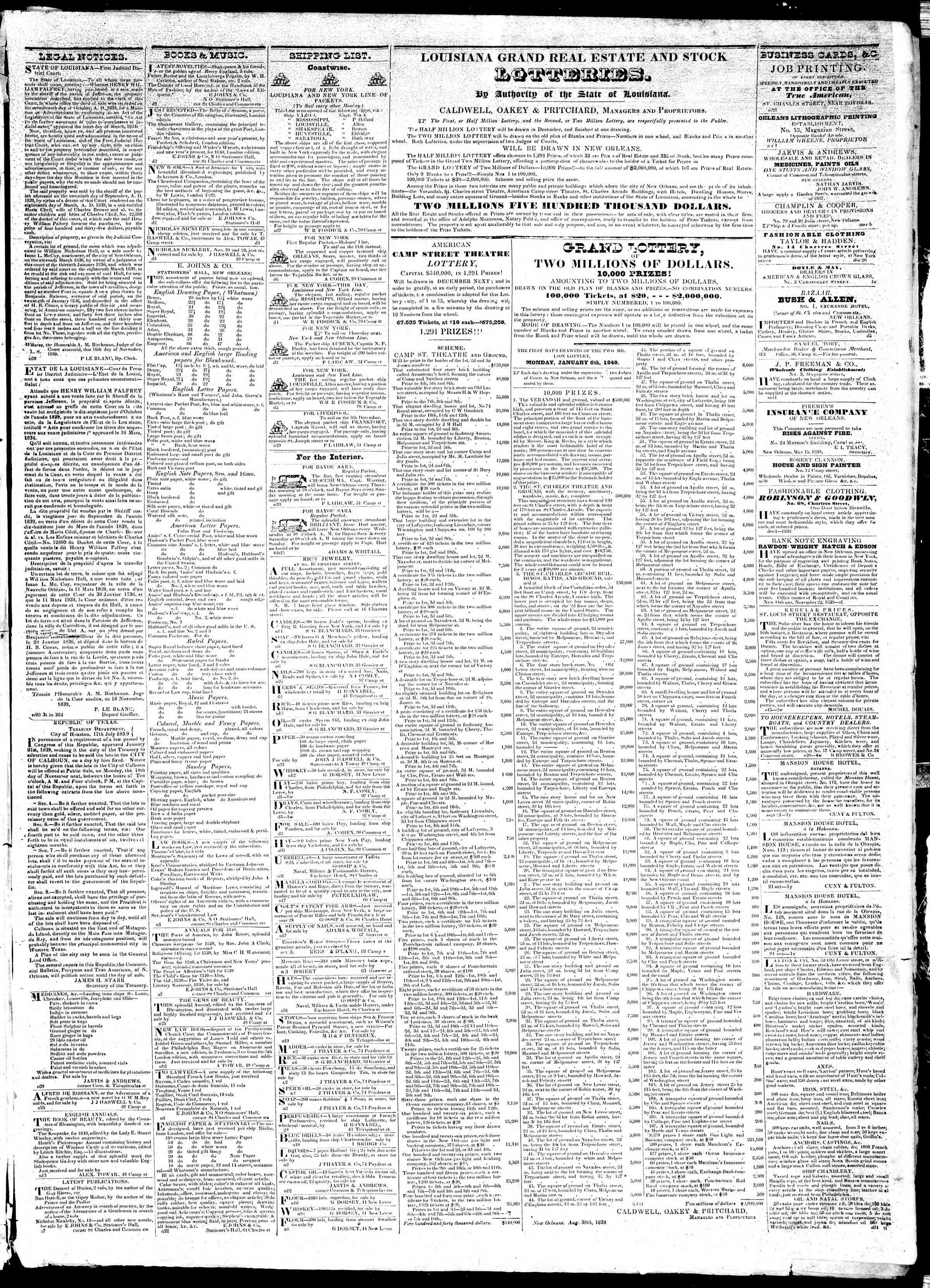 December 7, 1839 Tarihli True American Gazetesi Sayfa 3
