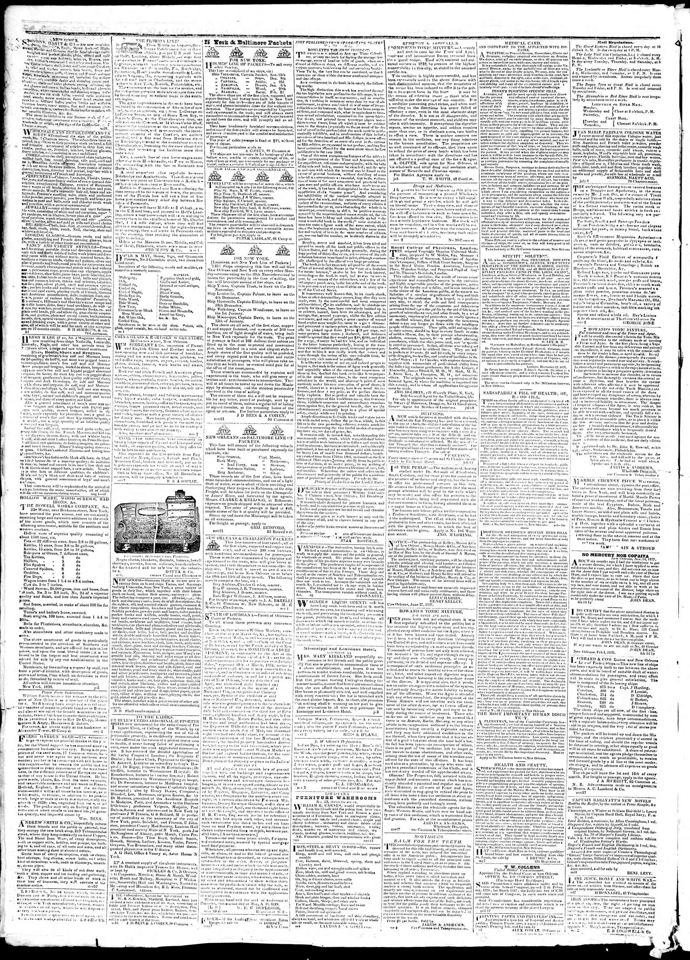 9 Aralık 1839 Tarihli True American Gazetesi Sayfa 4