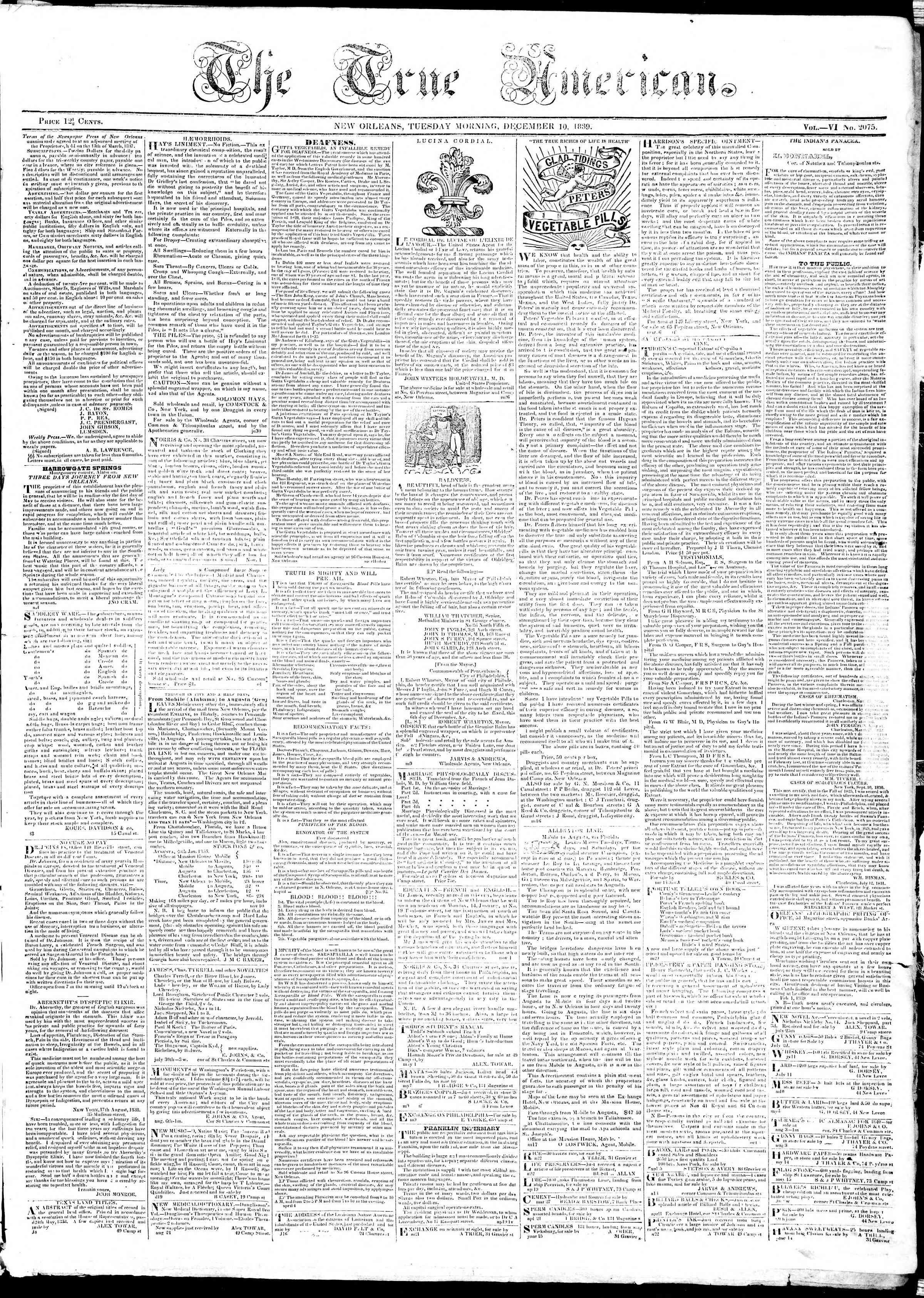December 10, 1839 Tarihli True American Gazetesi Sayfa 1