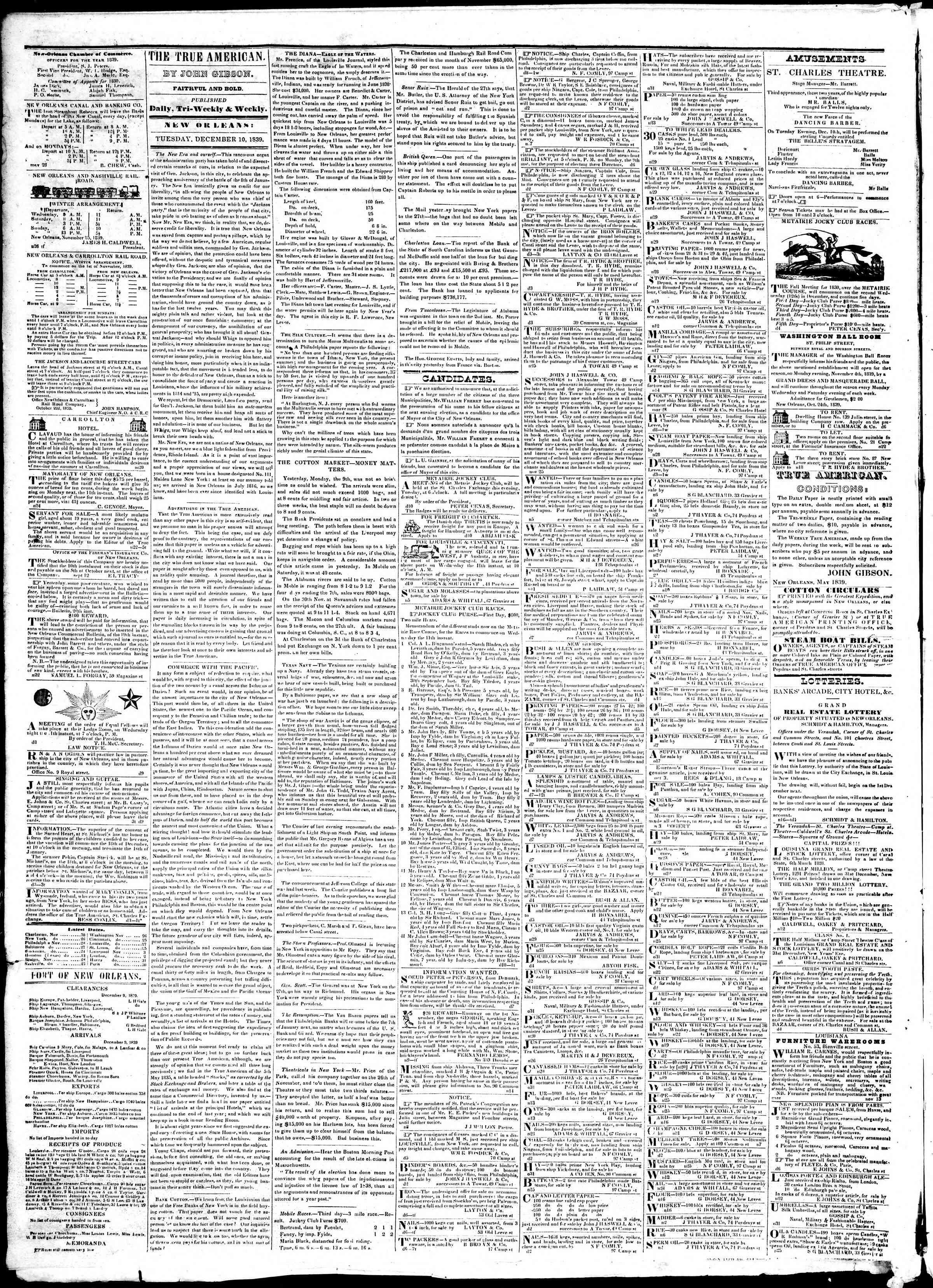 December 10, 1839 Tarihli True American Gazetesi Sayfa 2