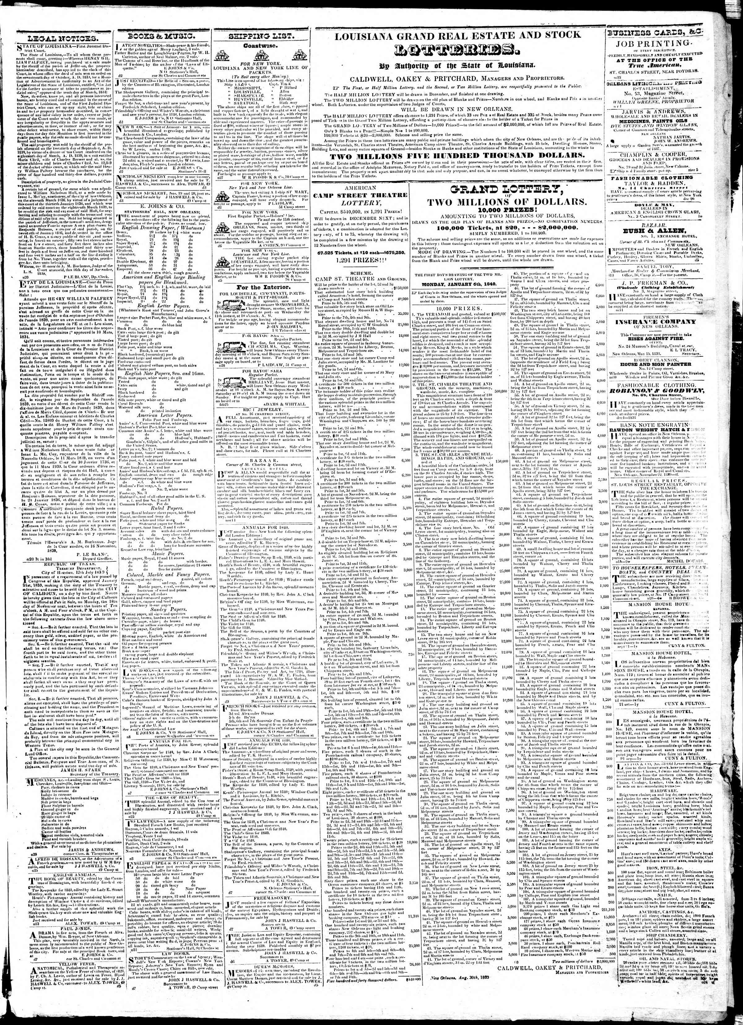 Newspaper of True American dated December 10, 1839 Page 3