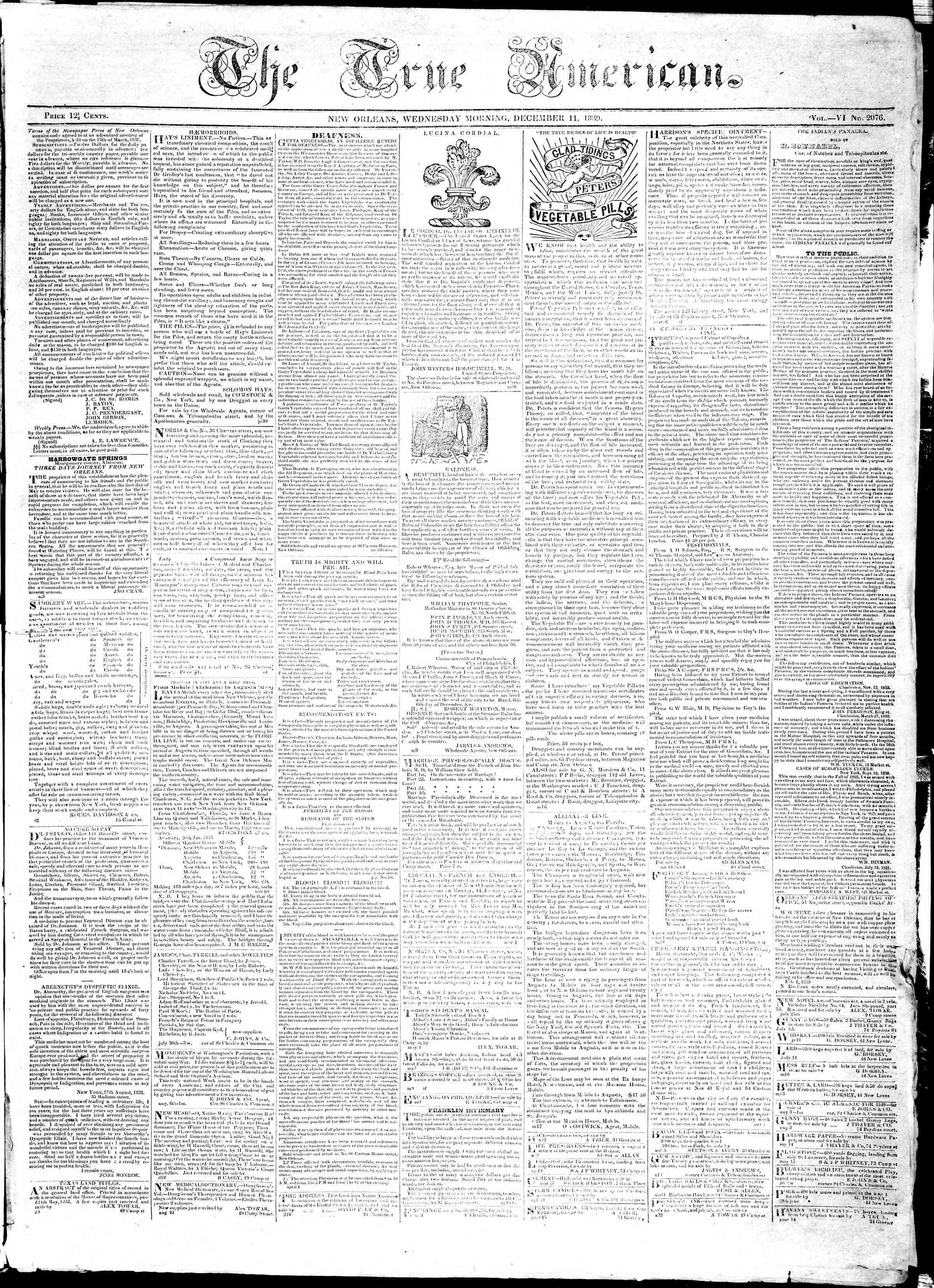 Newspaper of True American dated December 11, 1839 Page 1