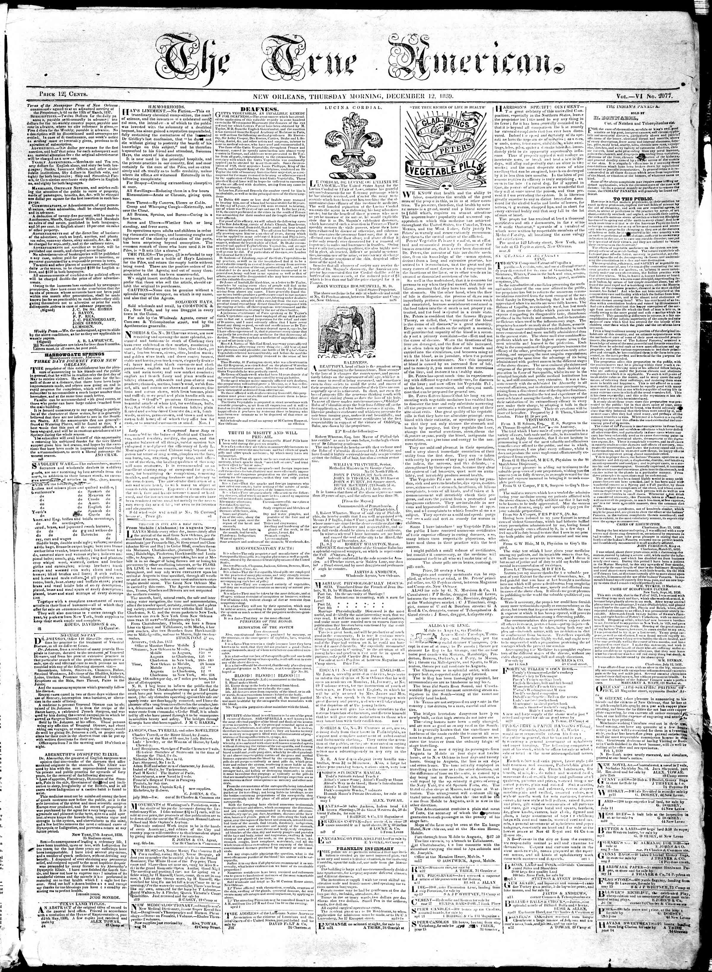 Newspaper of True American dated December 12, 1839 Page 1
