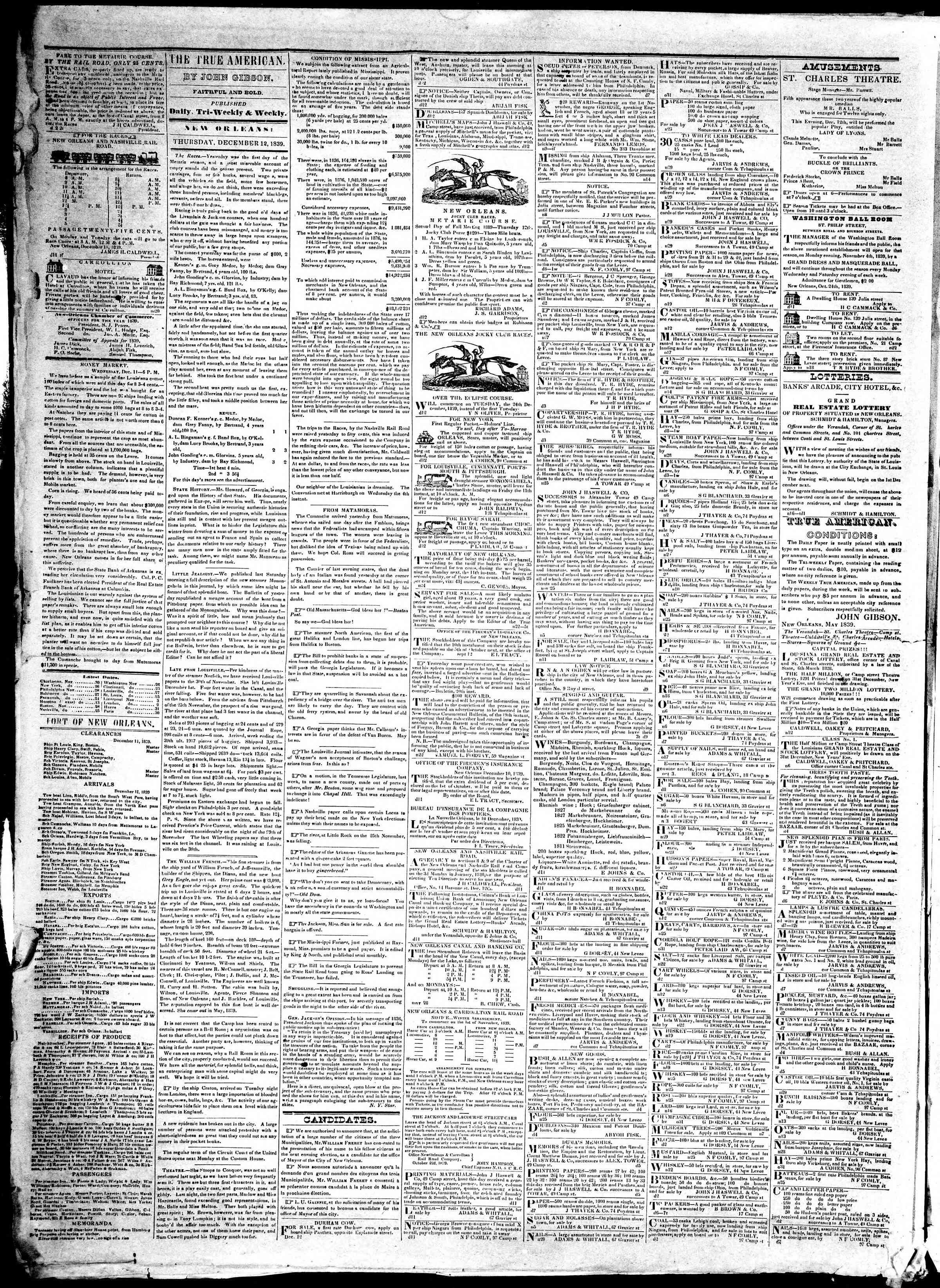 December 12, 1839 Tarihli True American Gazetesi Sayfa 2