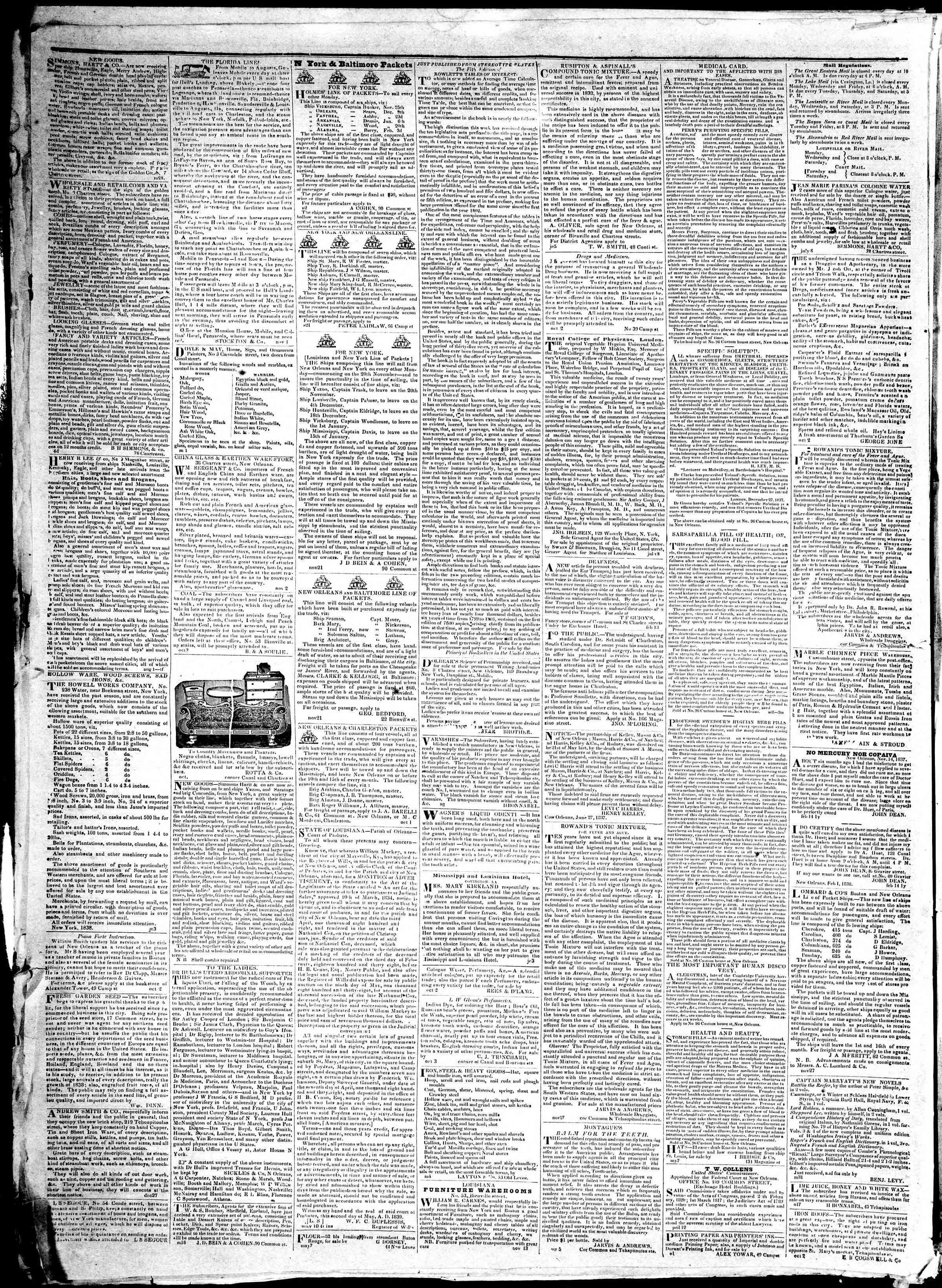 December 12, 1839 Tarihli True American Gazetesi Sayfa 4
