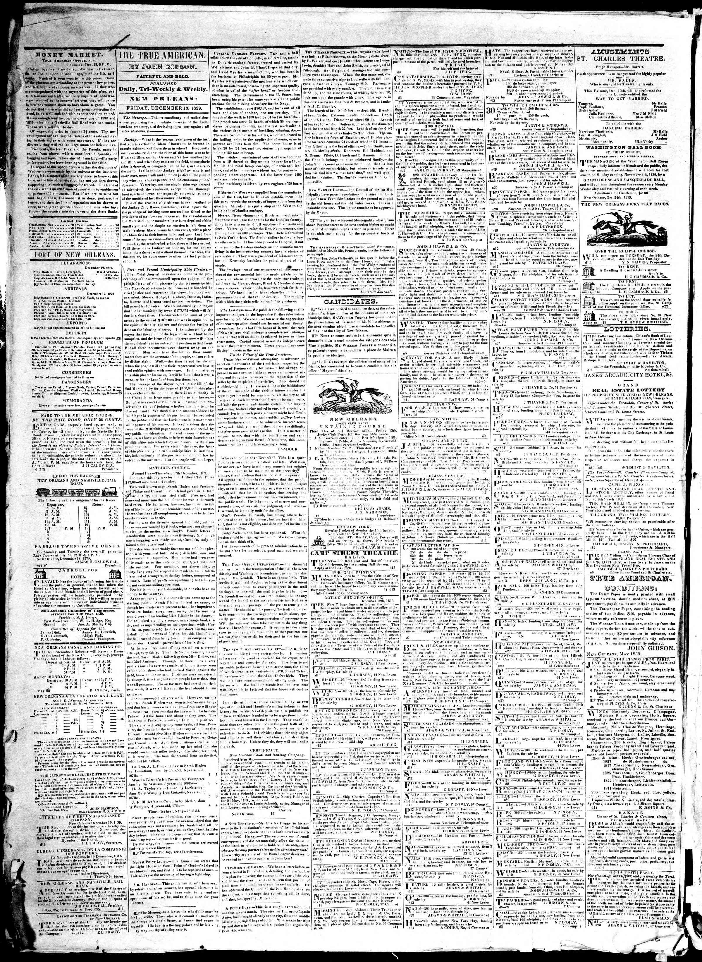 December 13, 1839 Tarihli True American Gazetesi Sayfa 2