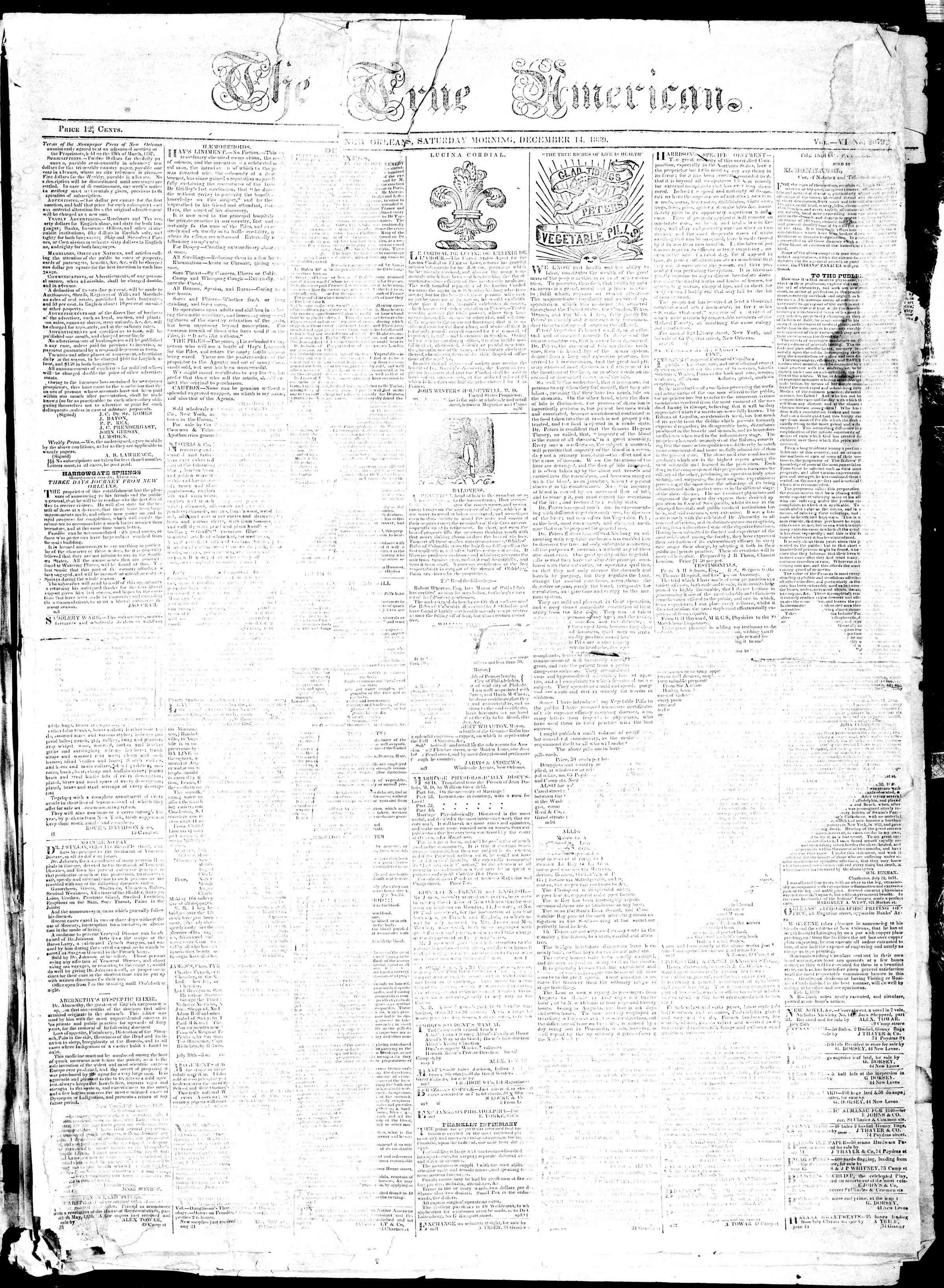December 14, 1839 Tarihli True American Gazetesi Sayfa 1