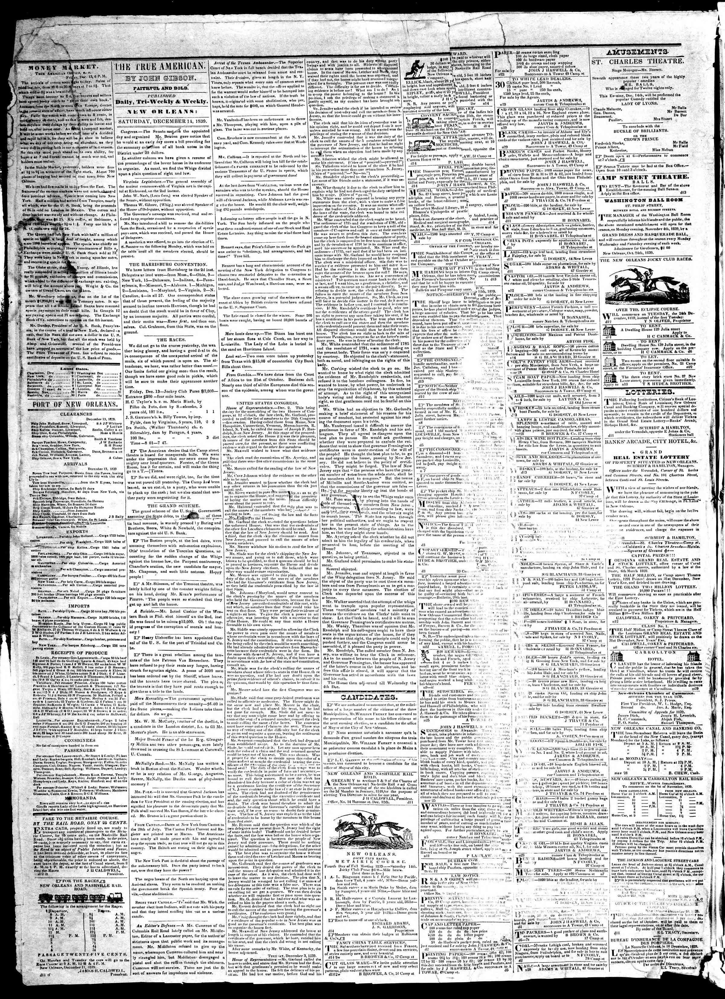 December 14, 1839 Tarihli True American Gazetesi Sayfa 2