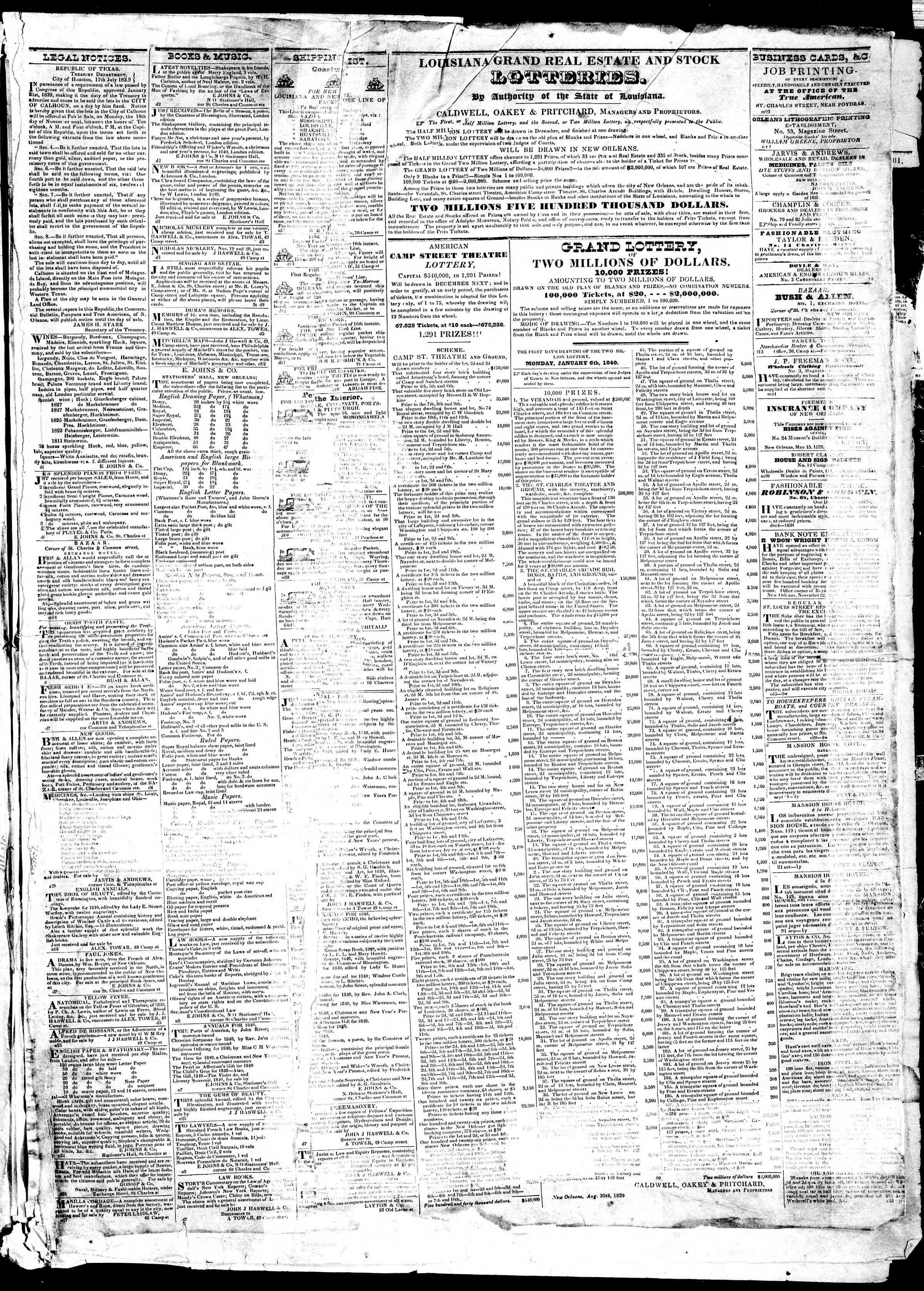 December 14, 1839 Tarihli True American Gazetesi Sayfa 3