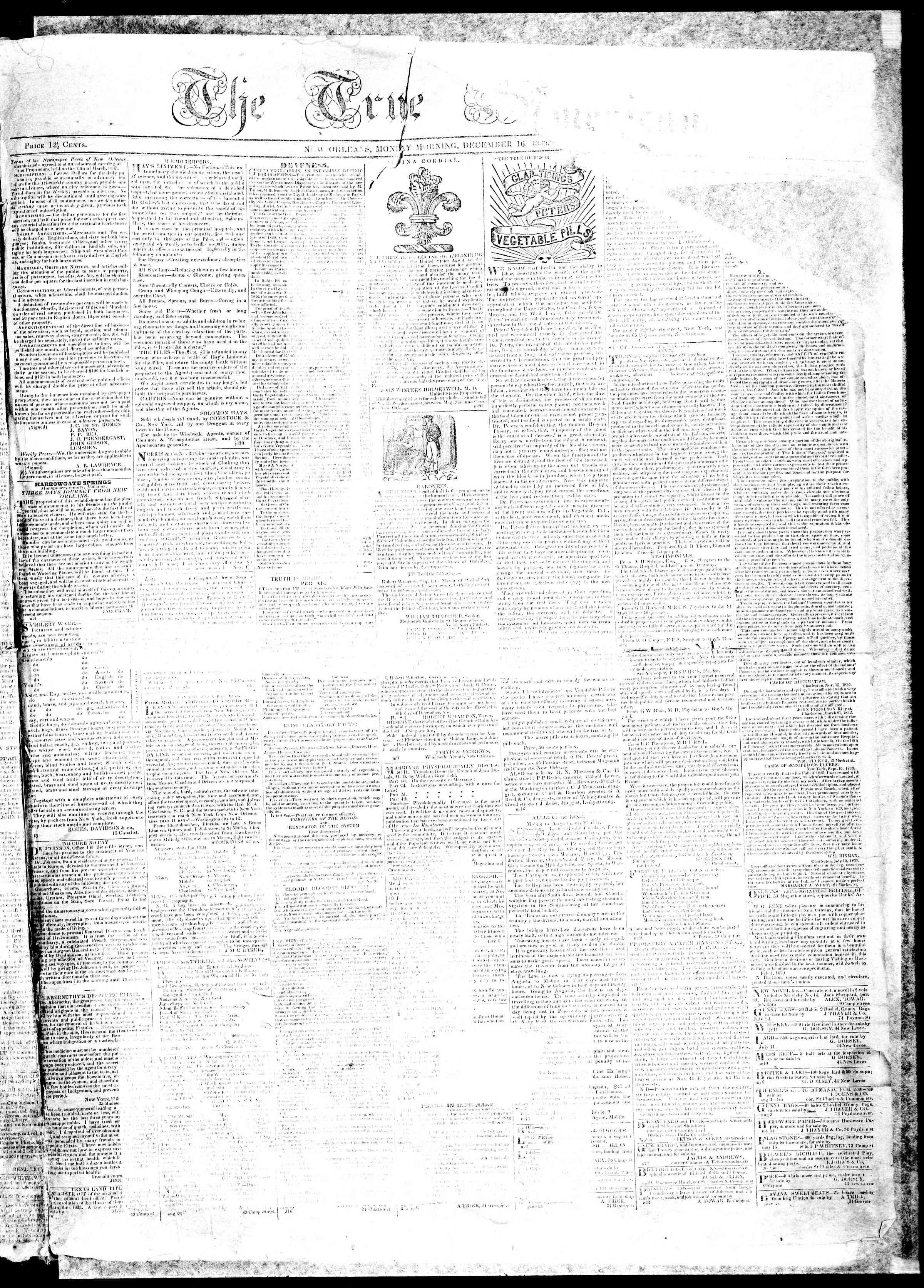 December 16, 1839 Tarihli True American Gazetesi Sayfa 1