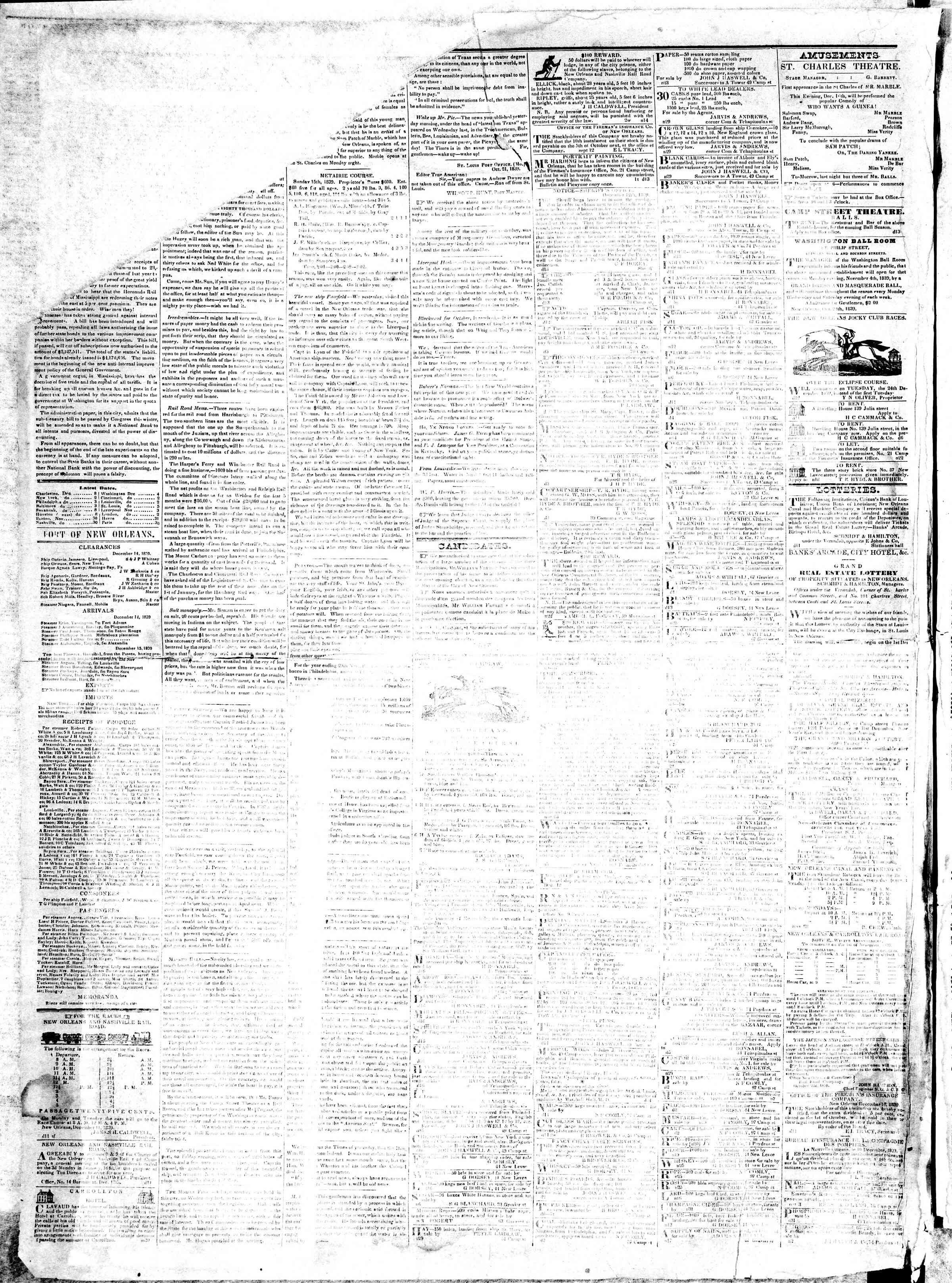 December 16, 1839 Tarihli True American Gazetesi Sayfa 2