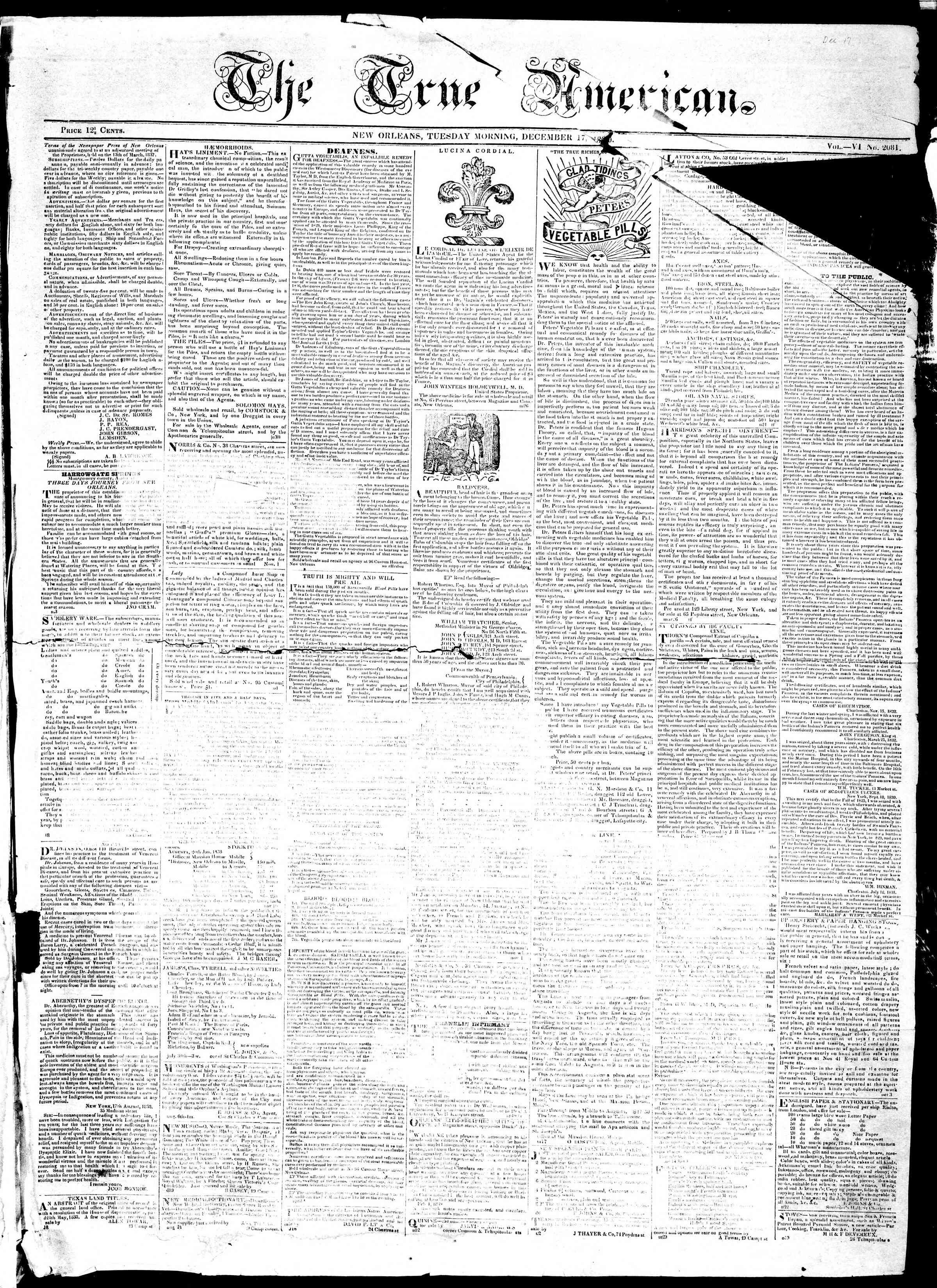 December 17, 1839 Tarihli True American Gazetesi Sayfa 1