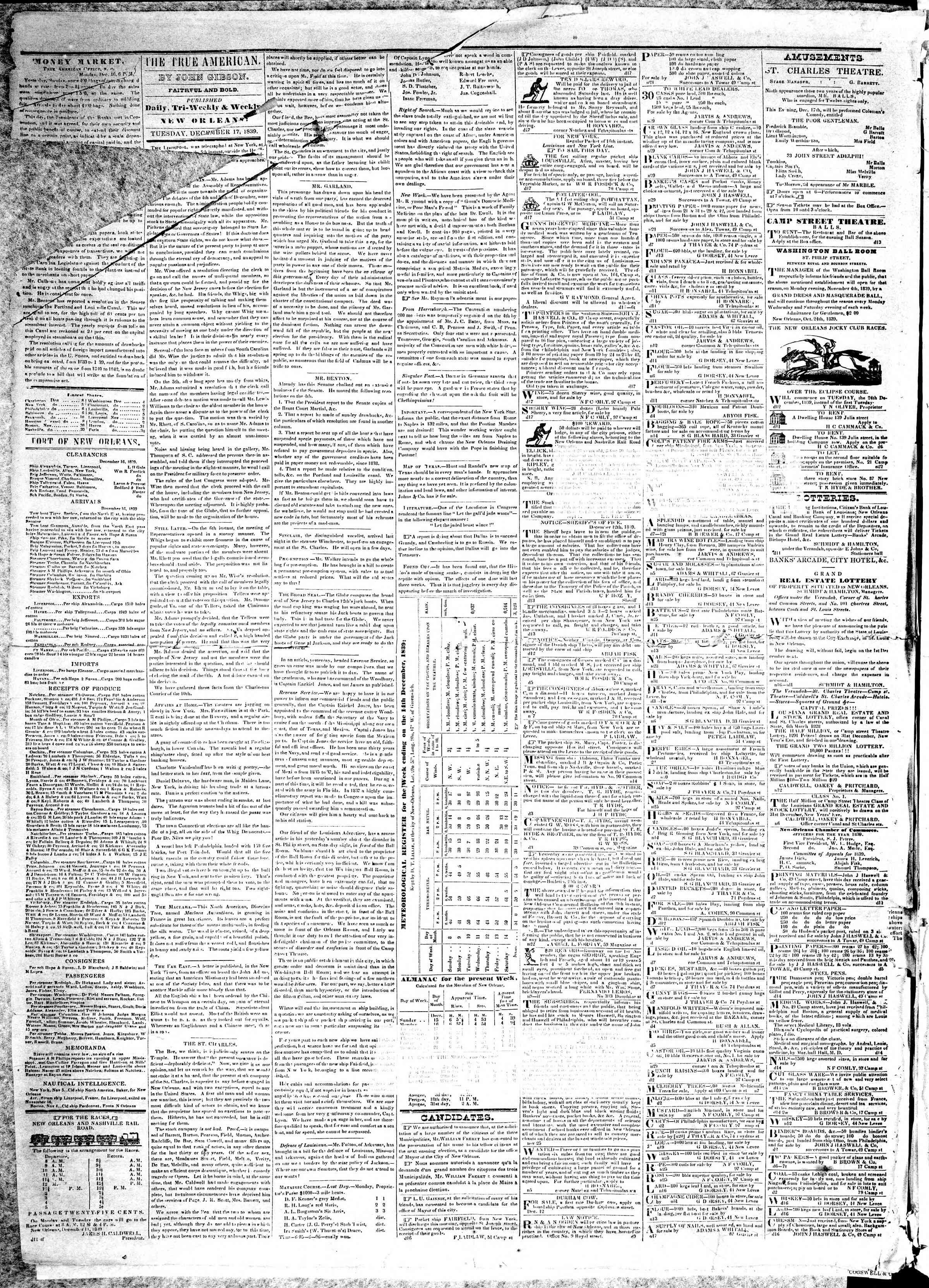 Newspaper of True American dated December 17, 1839 Page 2