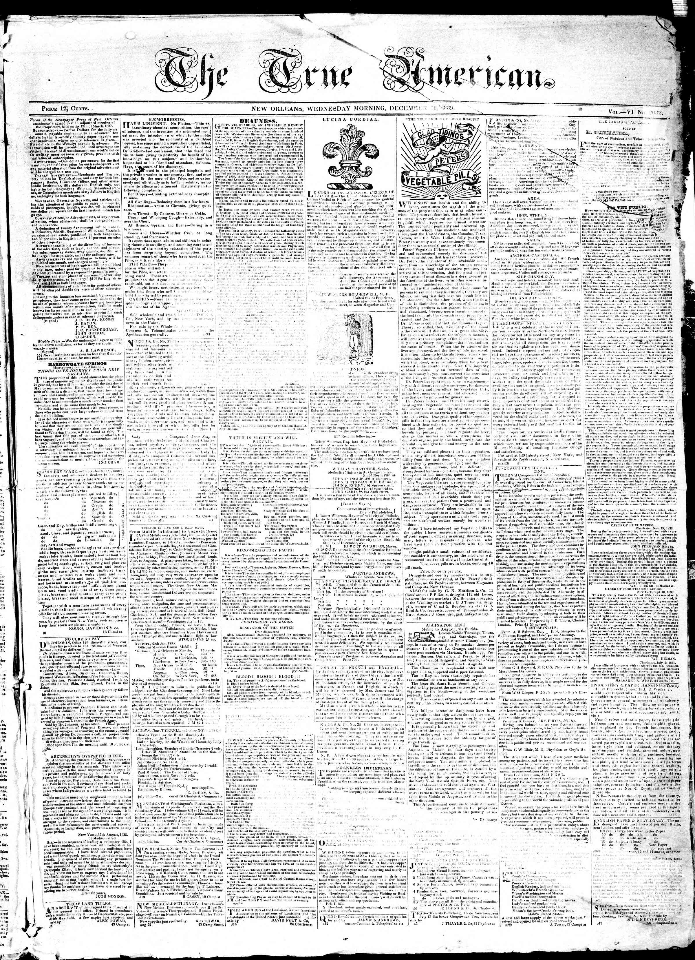 Newspaper of True American dated December 18, 1839 Page 1