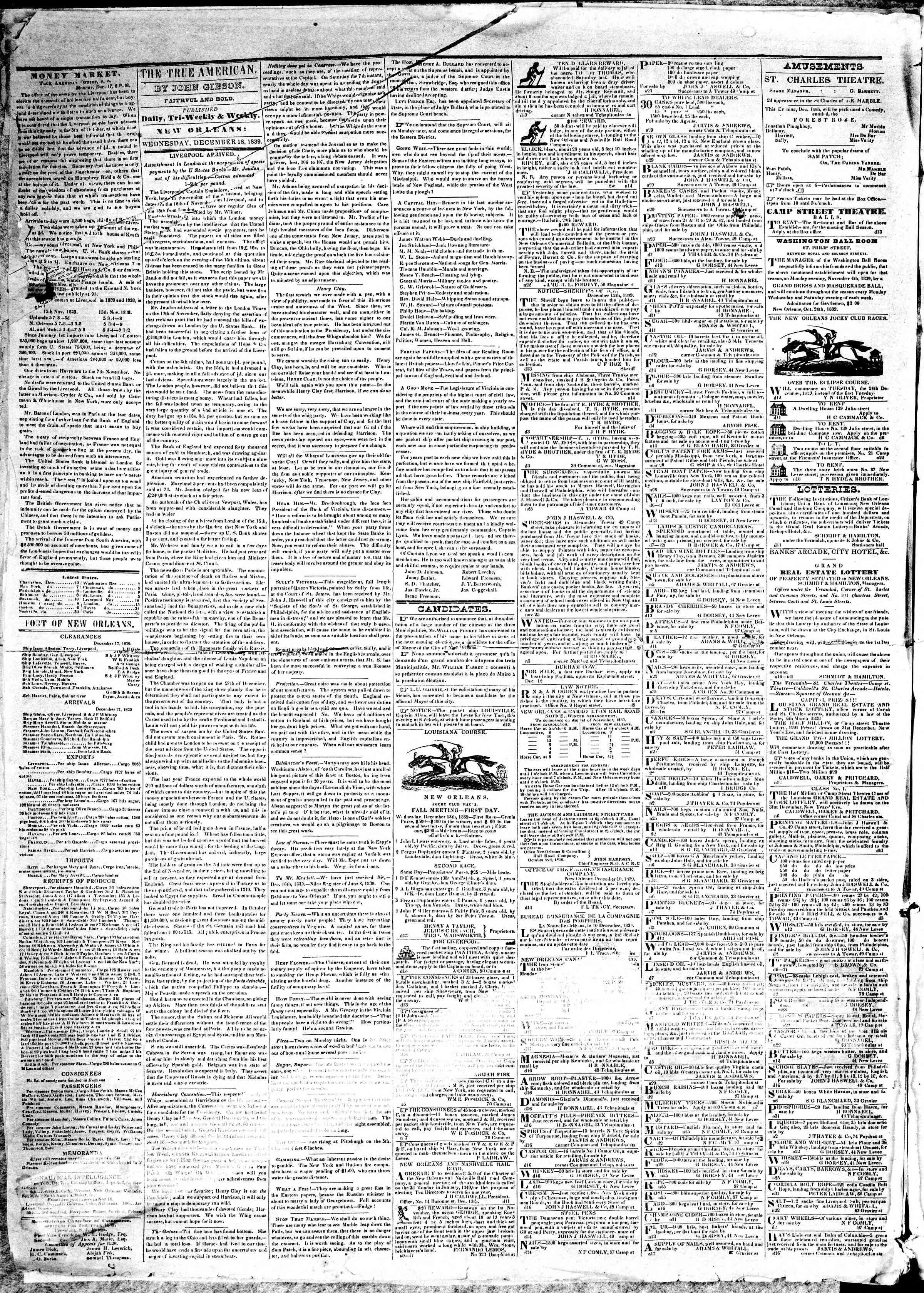 18 Aralık 1839 Tarihli True American Gazetesi Sayfa 2