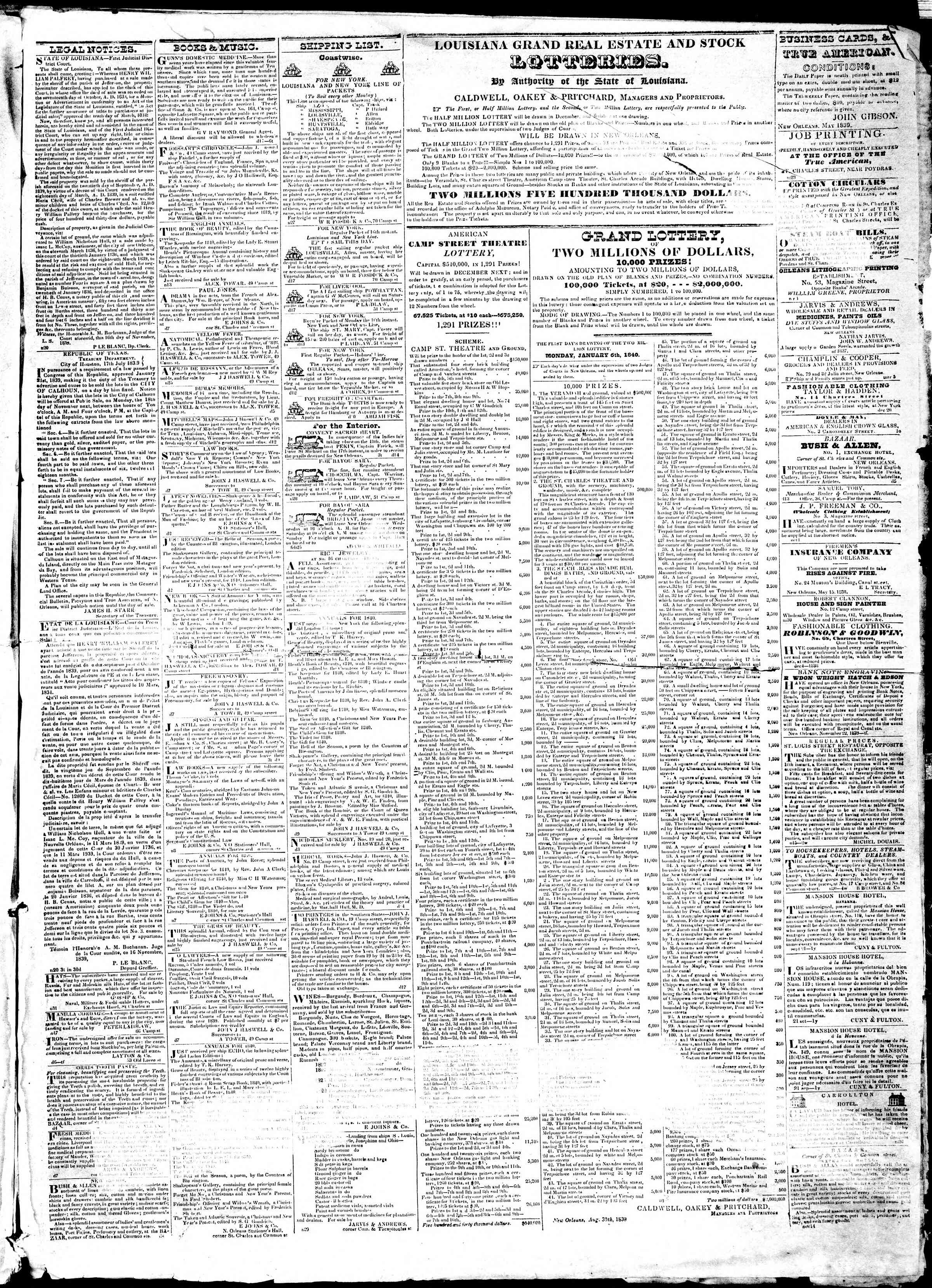 Newspaper of True American dated December 18, 1839 Page 3