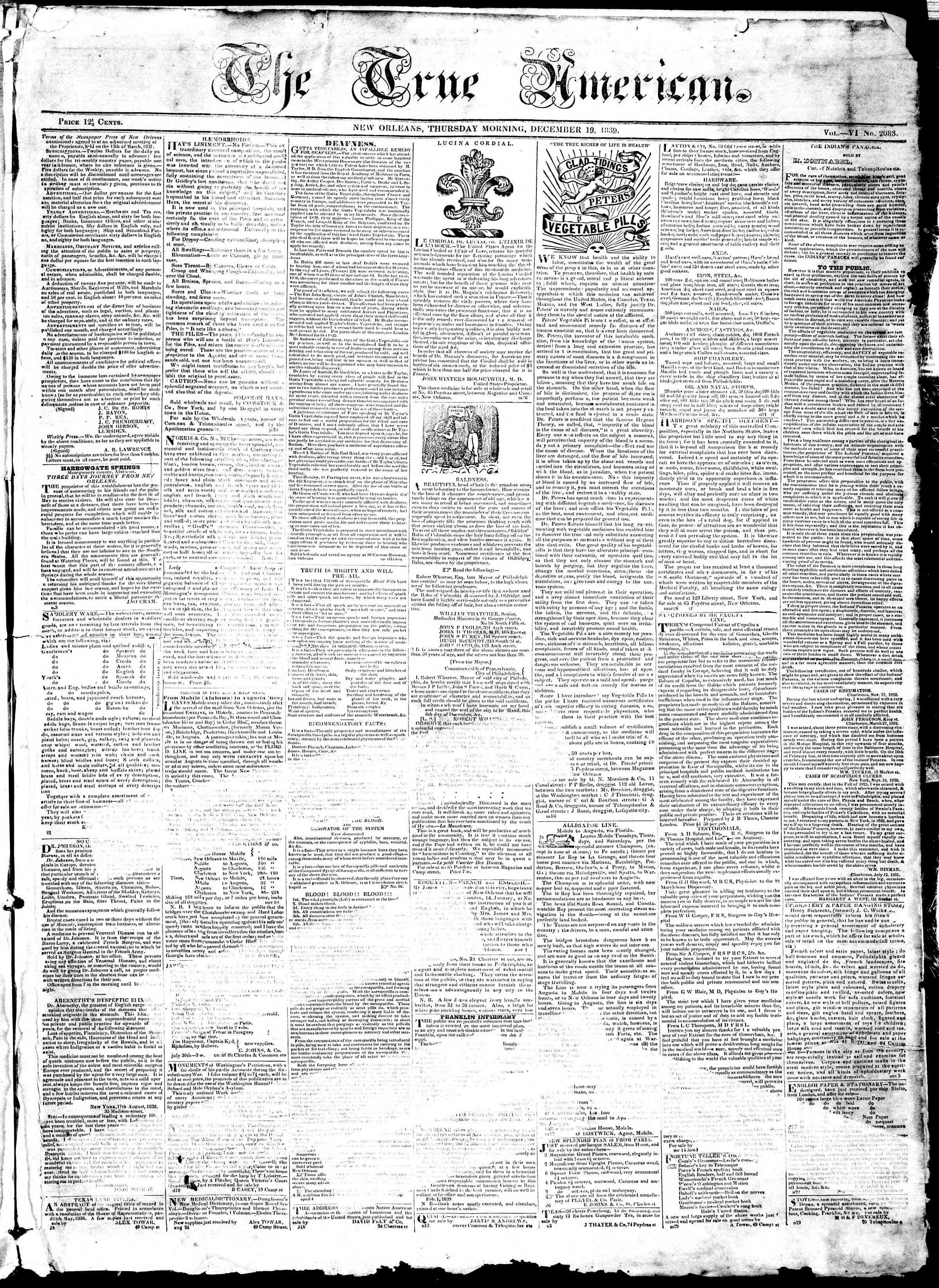 December 19, 1839 Tarihli True American Gazetesi Sayfa 1