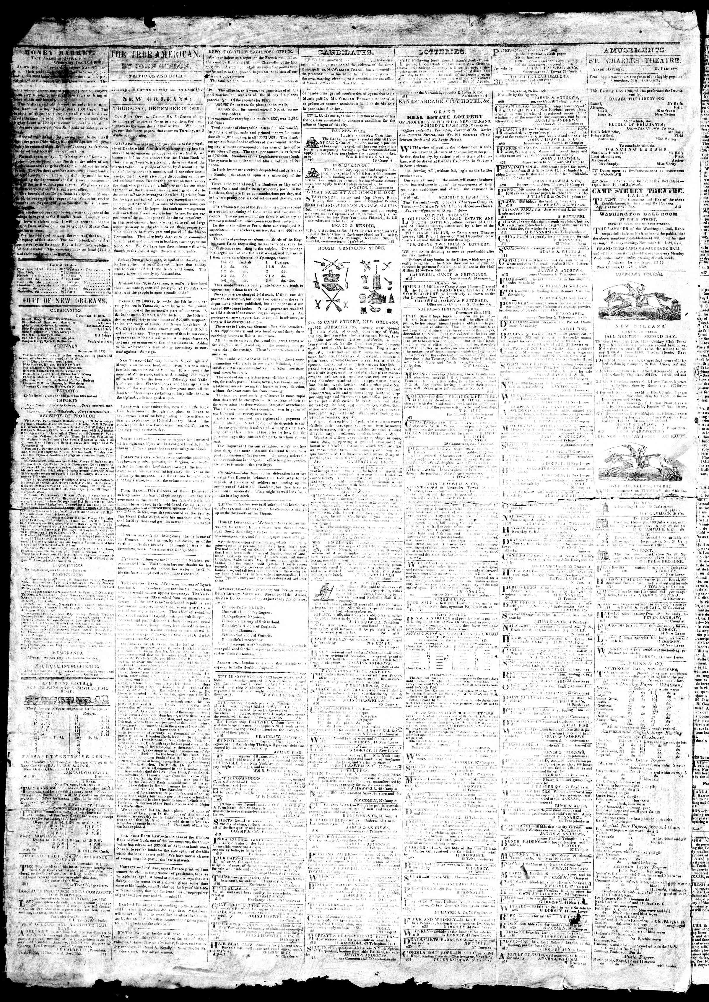19 Aralık 1839 Tarihli True American Gazetesi Sayfa 2