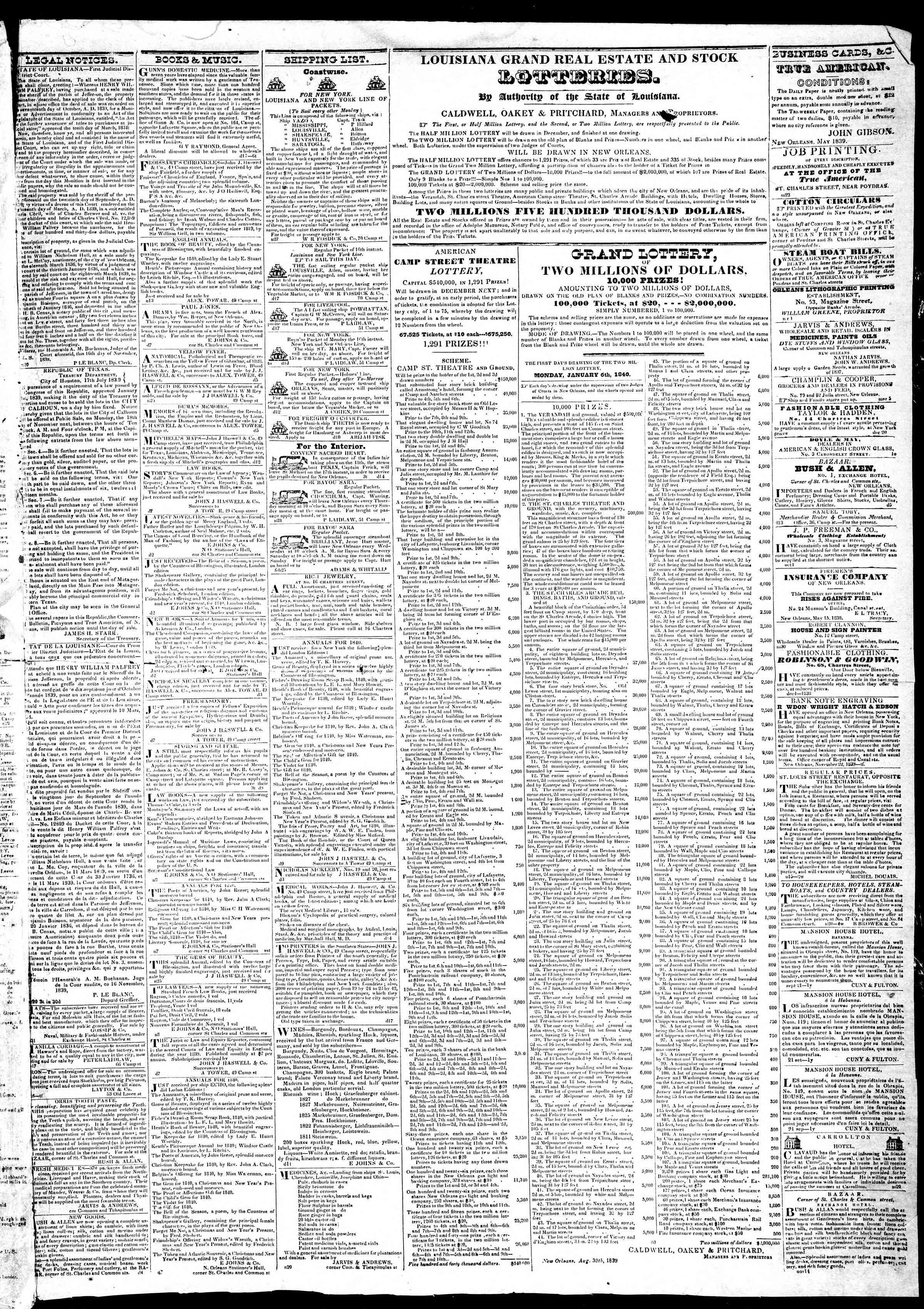 December 19, 1839 Tarihli True American Gazetesi Sayfa 3