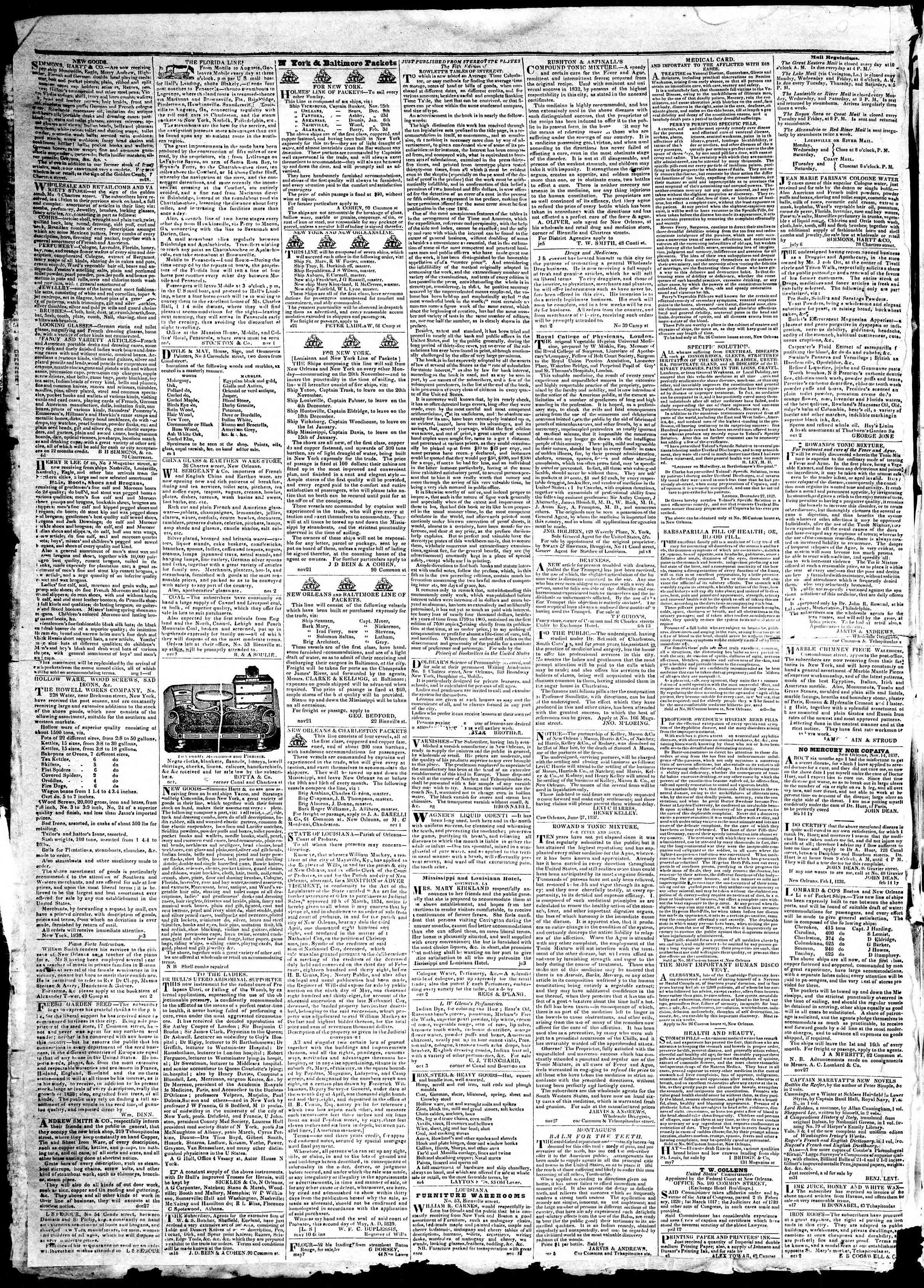 19 Aralık 1839 Tarihli True American Gazetesi Sayfa 4