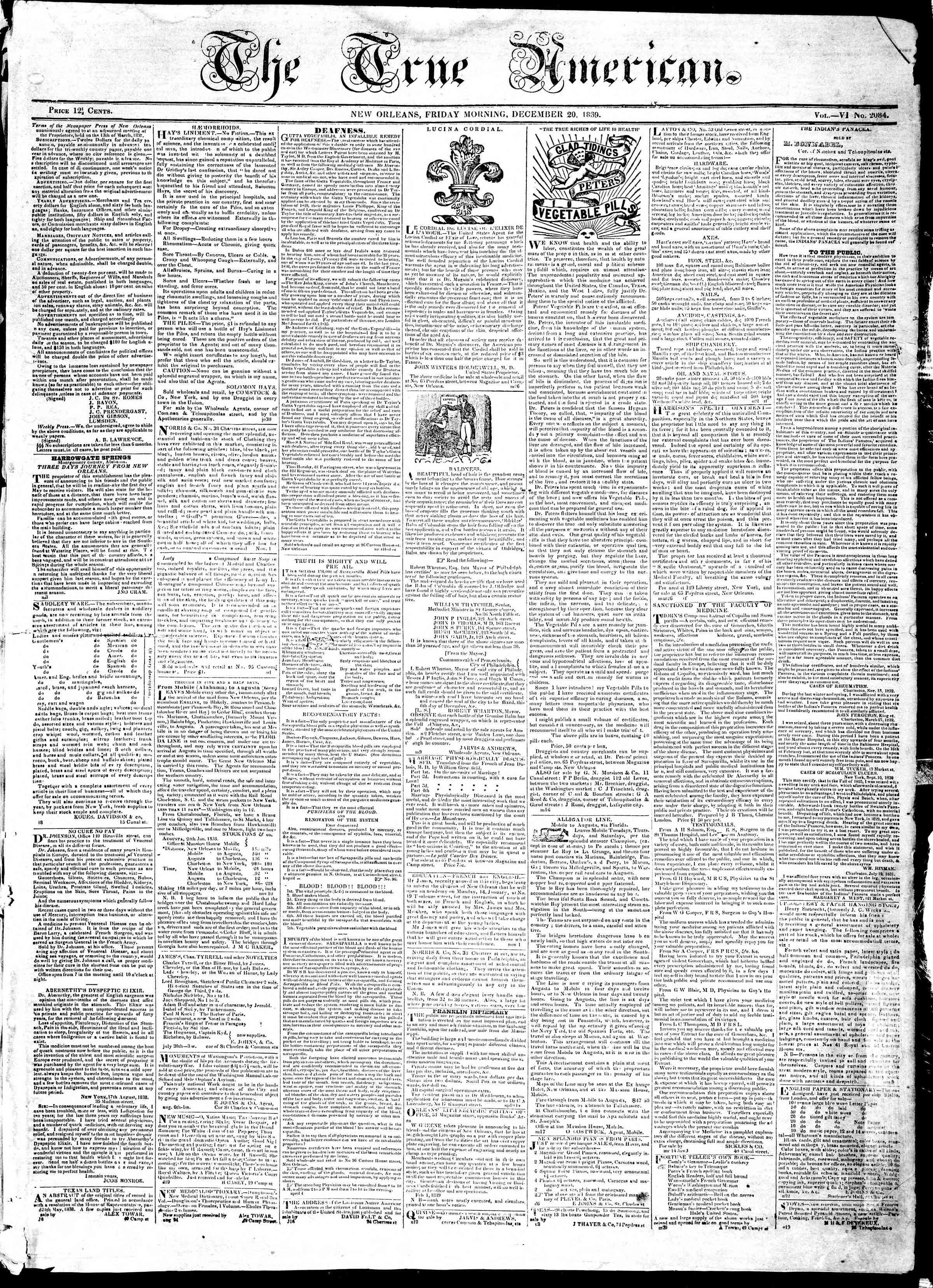 December 20, 1839 Tarihli True American Gazetesi Sayfa 1