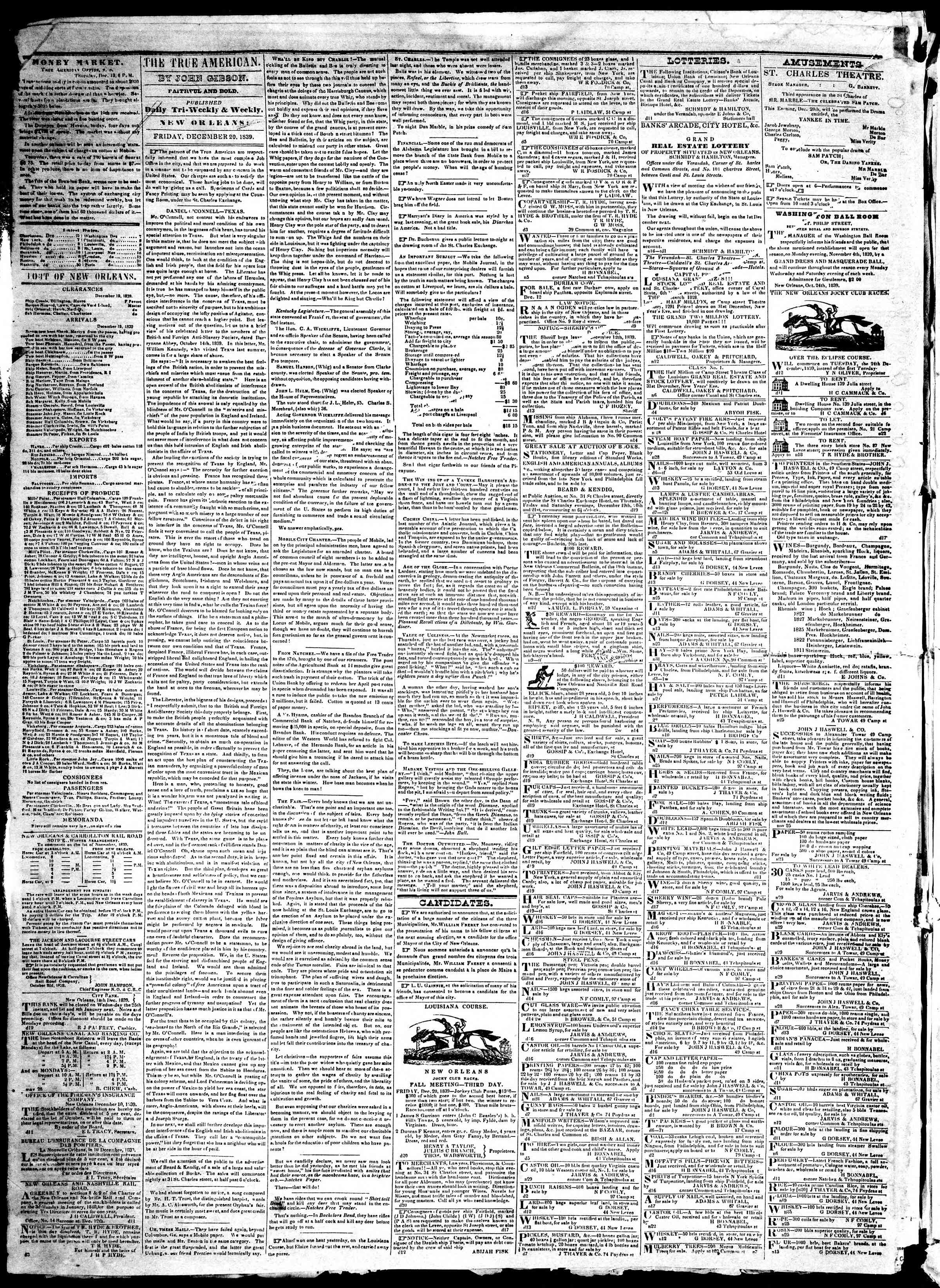 Newspaper of True American dated December 20, 1839 Page 2