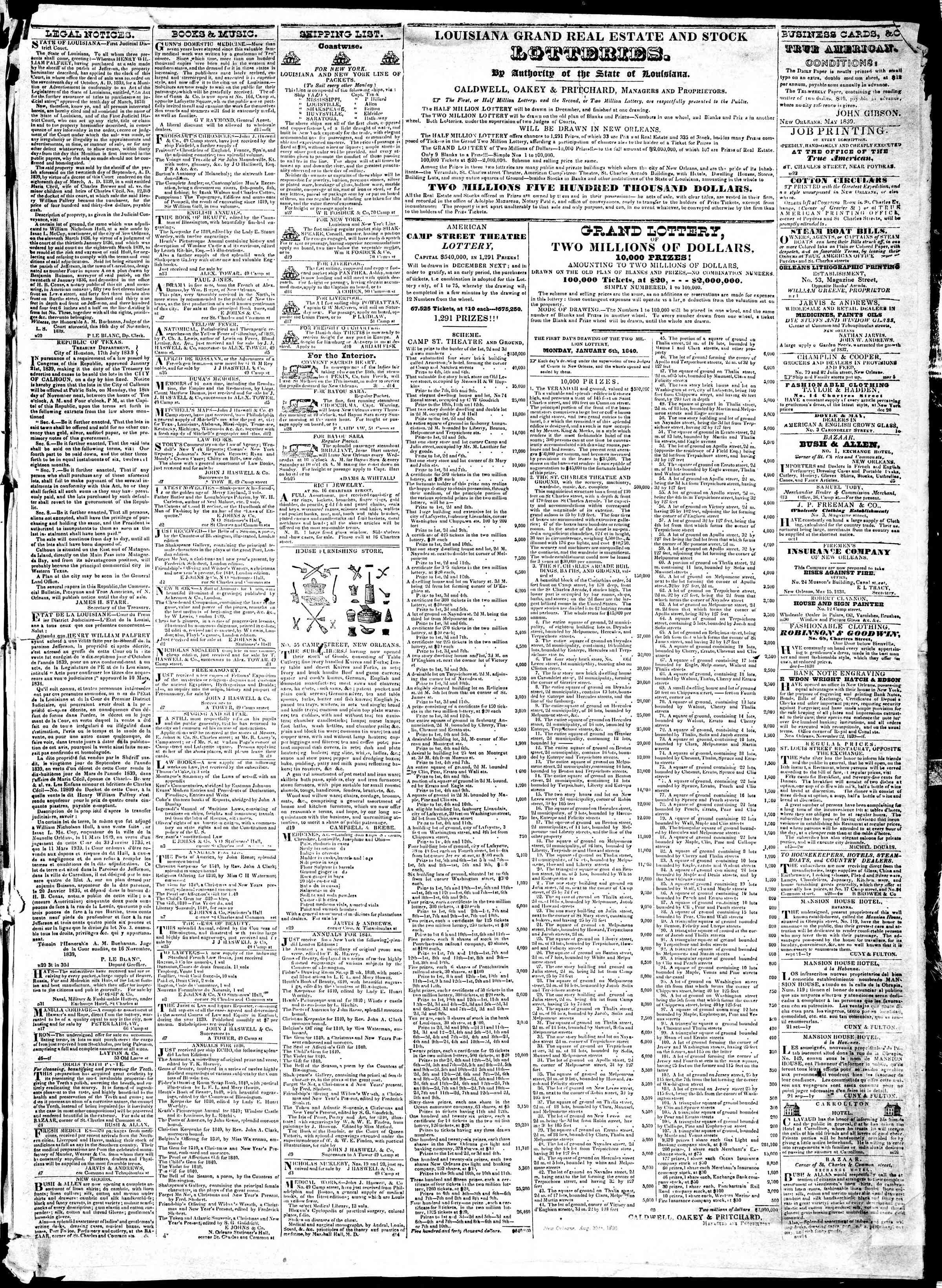 December 20, 1839 Tarihli True American Gazetesi Sayfa 3