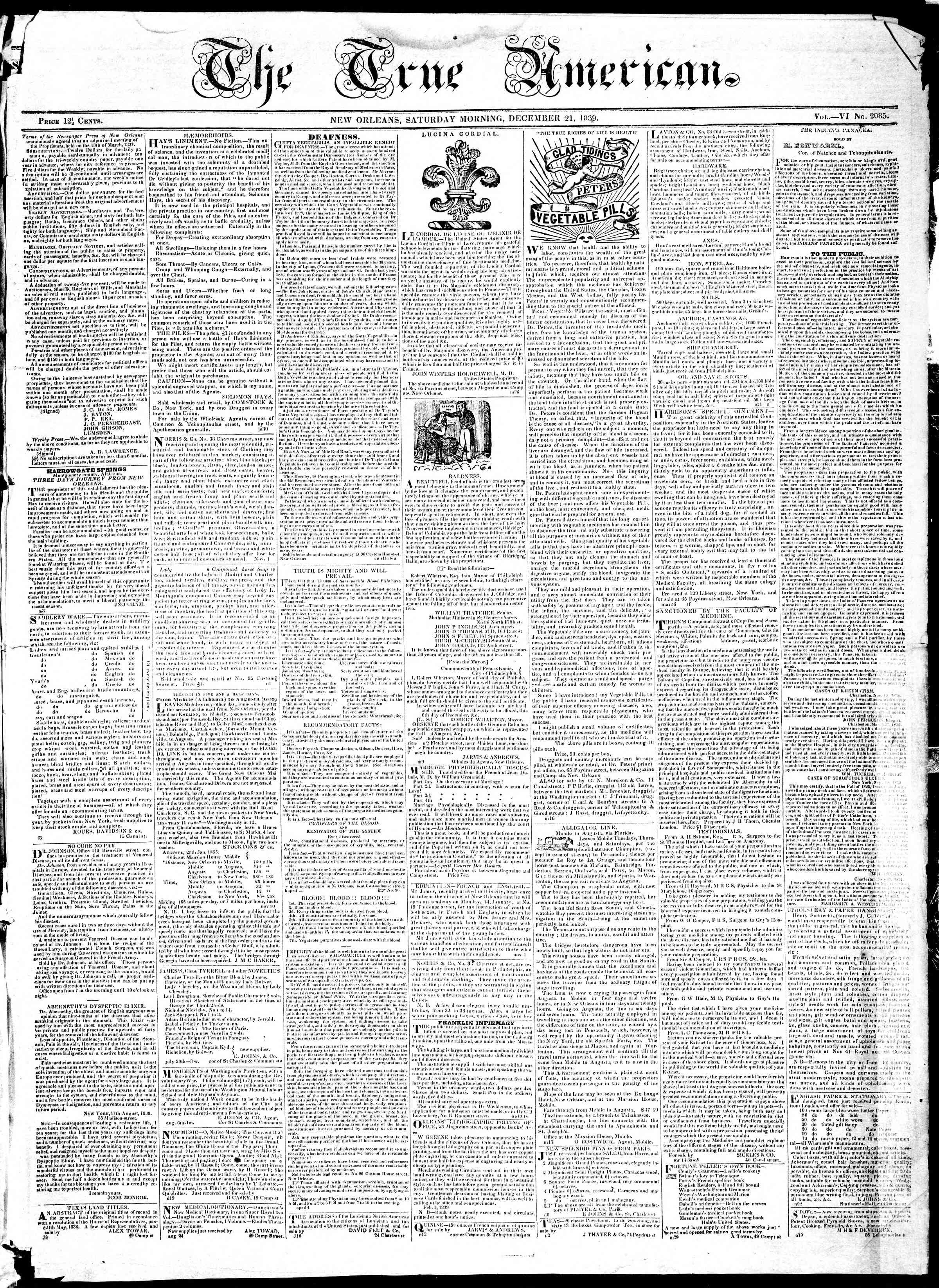 Newspaper of True American dated December 21, 1839 Page 1