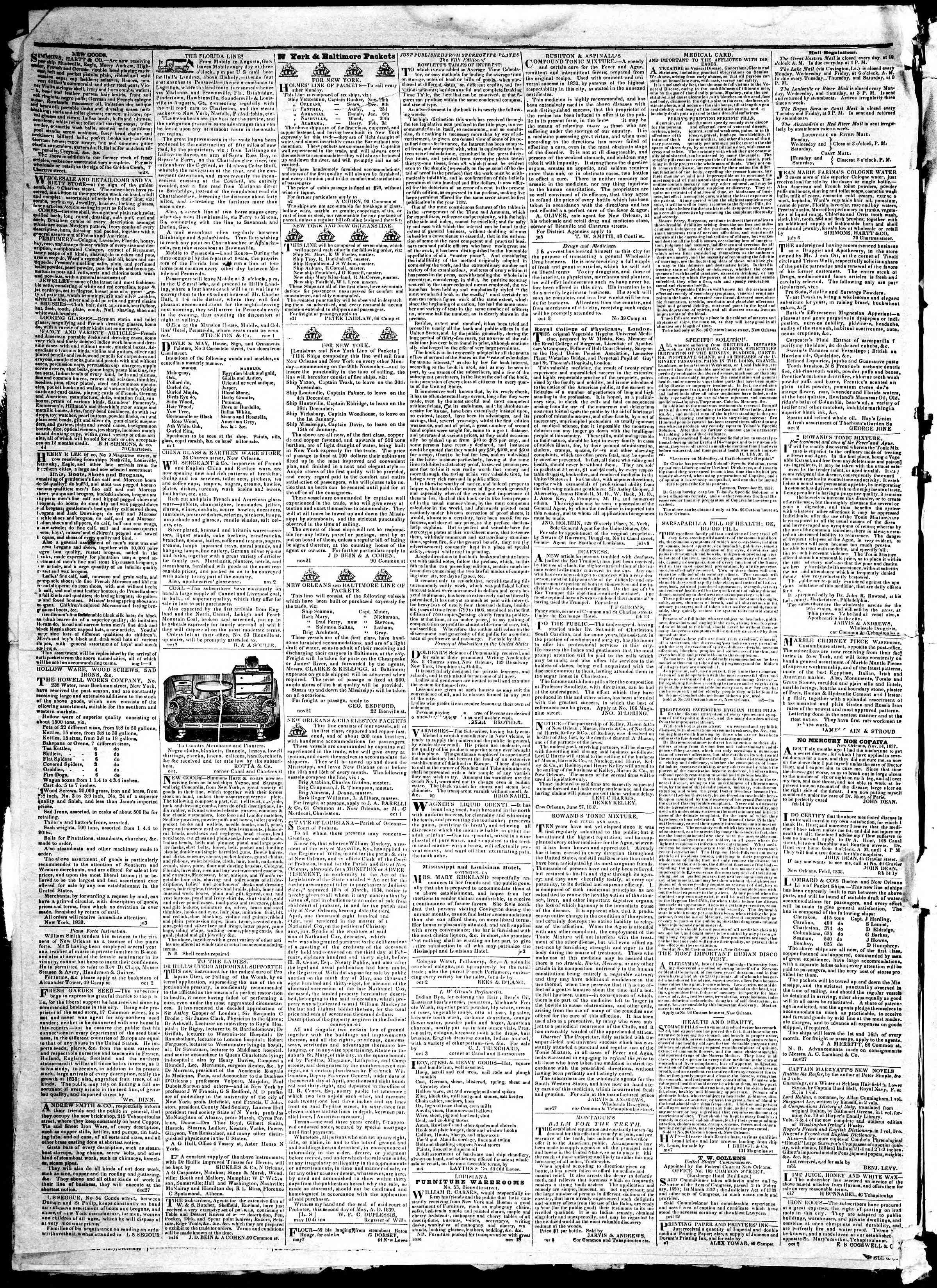 21 Aralık 1839 tarihli True American Gazetesi Sayfa 4