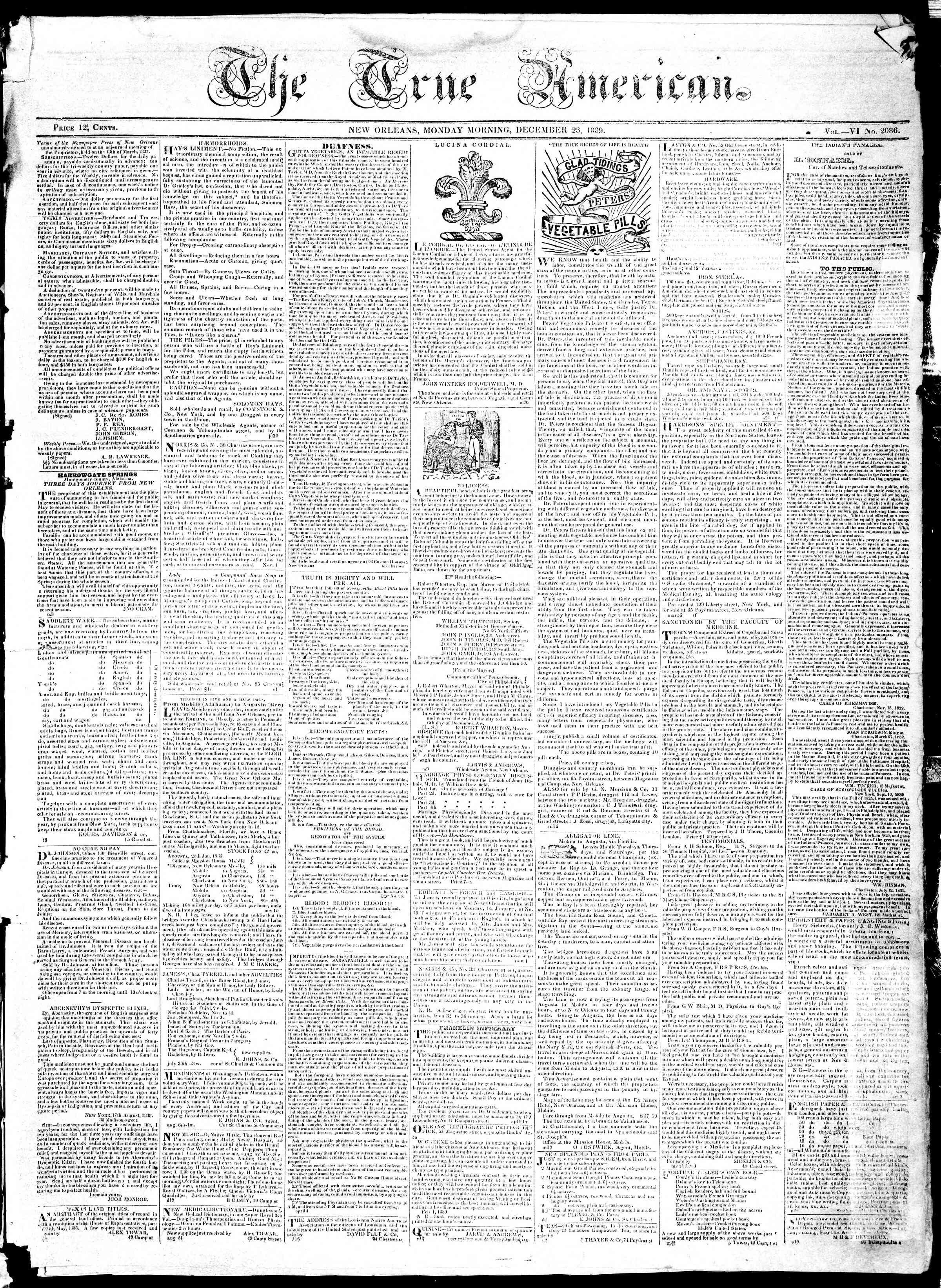 Newspaper of True American dated December 23, 1839 Page 1