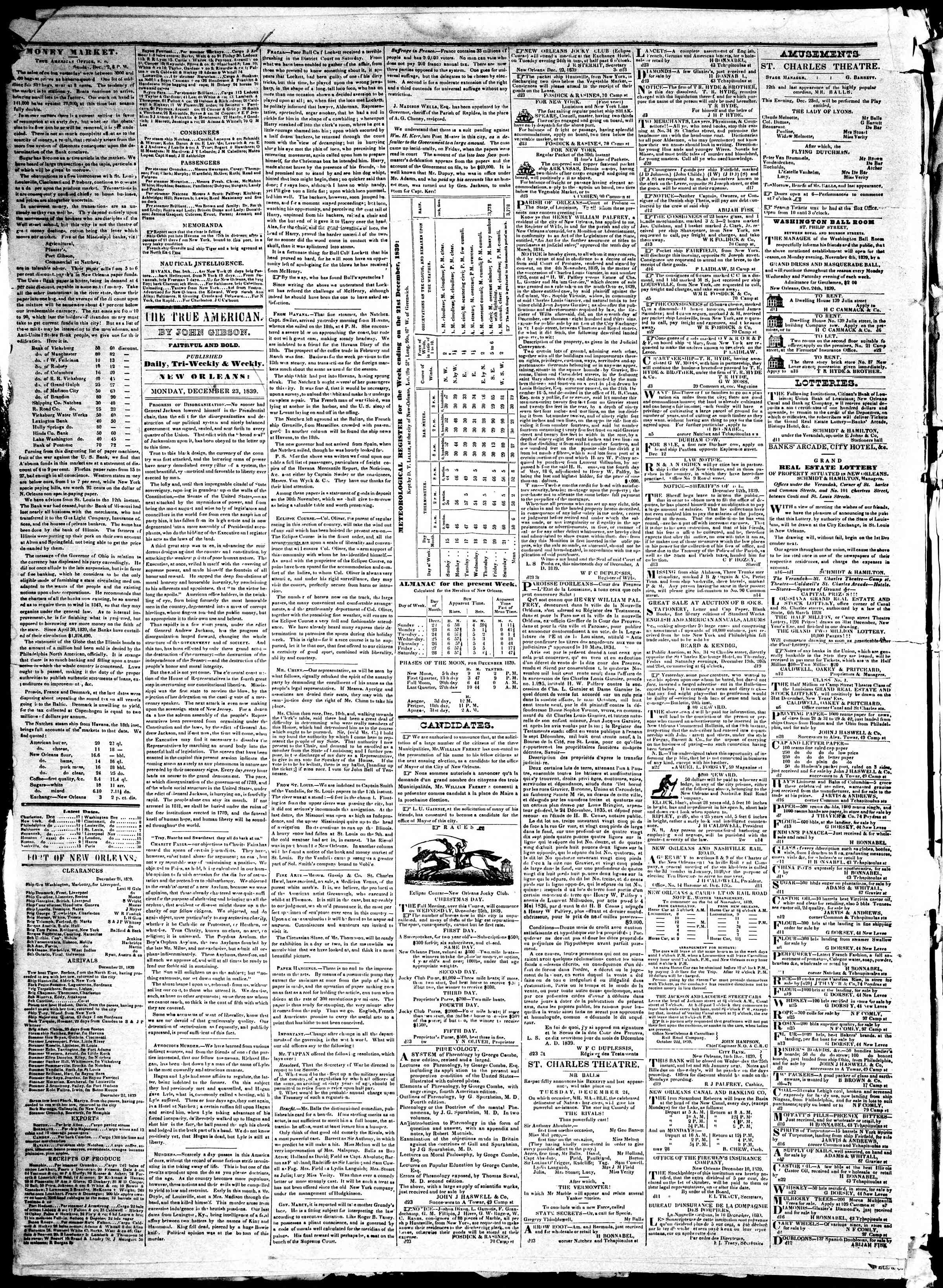 Newspaper of True American dated December 23, 1839 Page 2