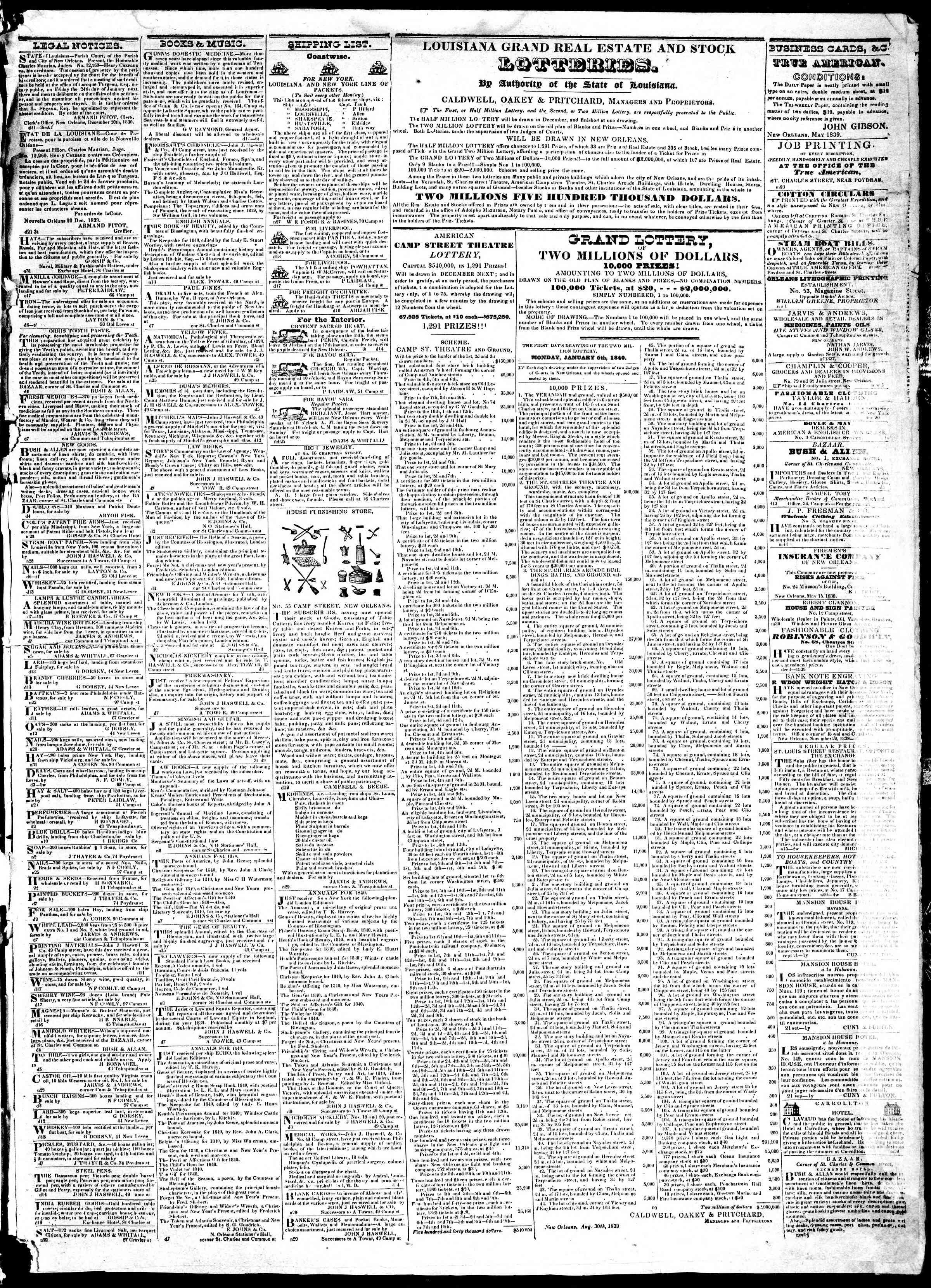 December 23, 1839 Tarihli True American Gazetesi Sayfa 3