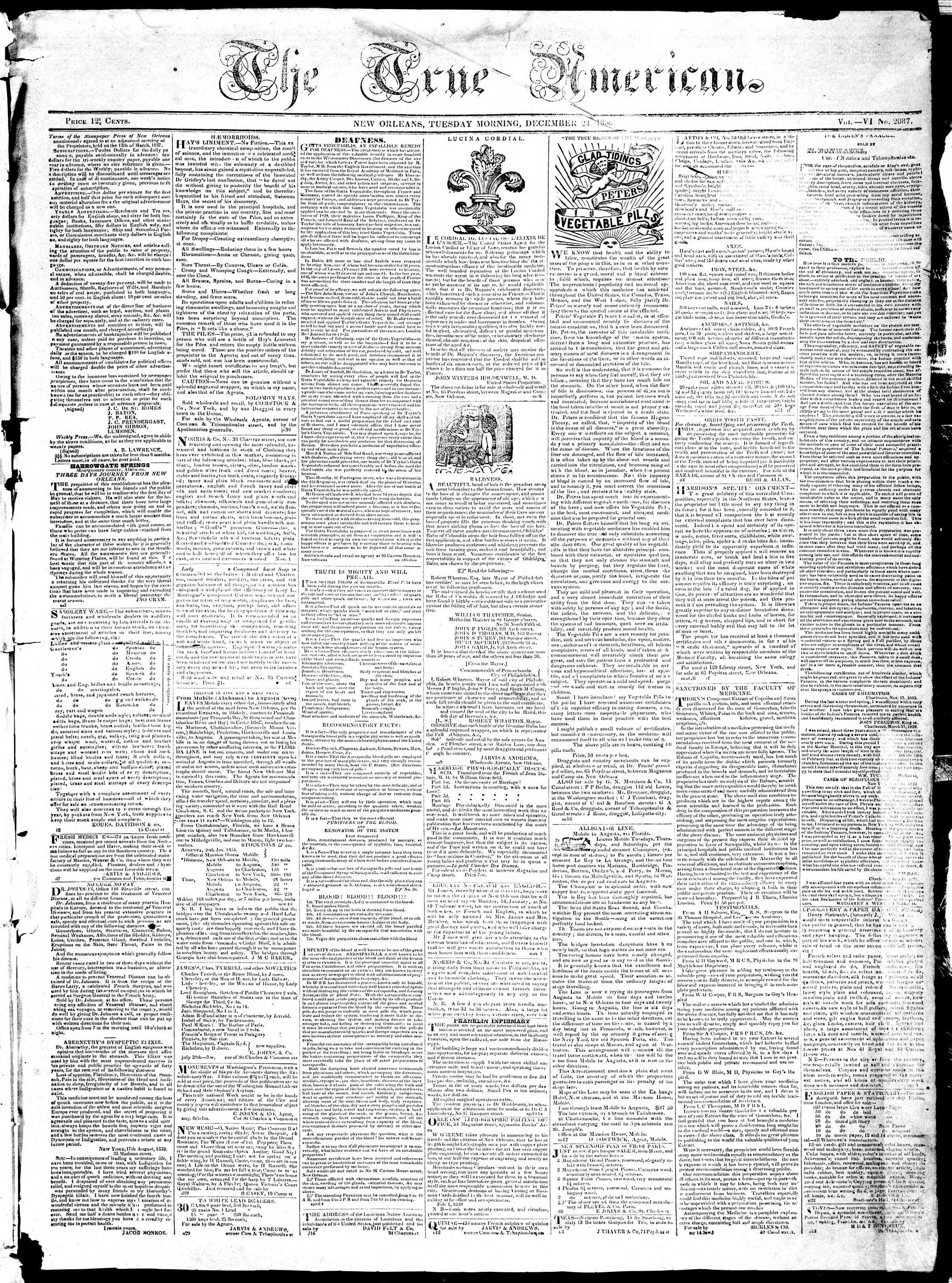 Newspaper of True American dated December 24, 1839 Page 1