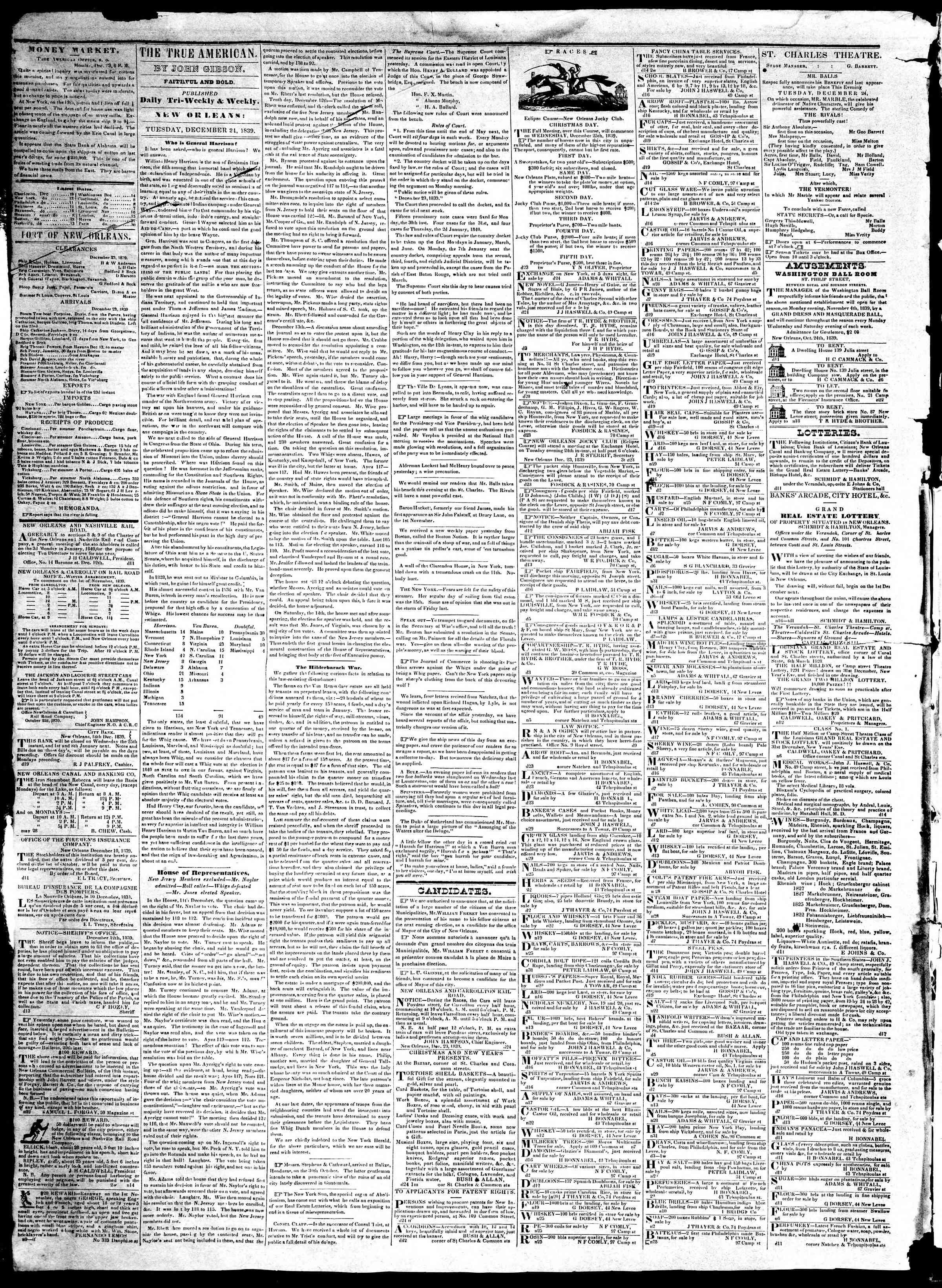 December 24, 1839 Tarihli True American Gazetesi Sayfa 2