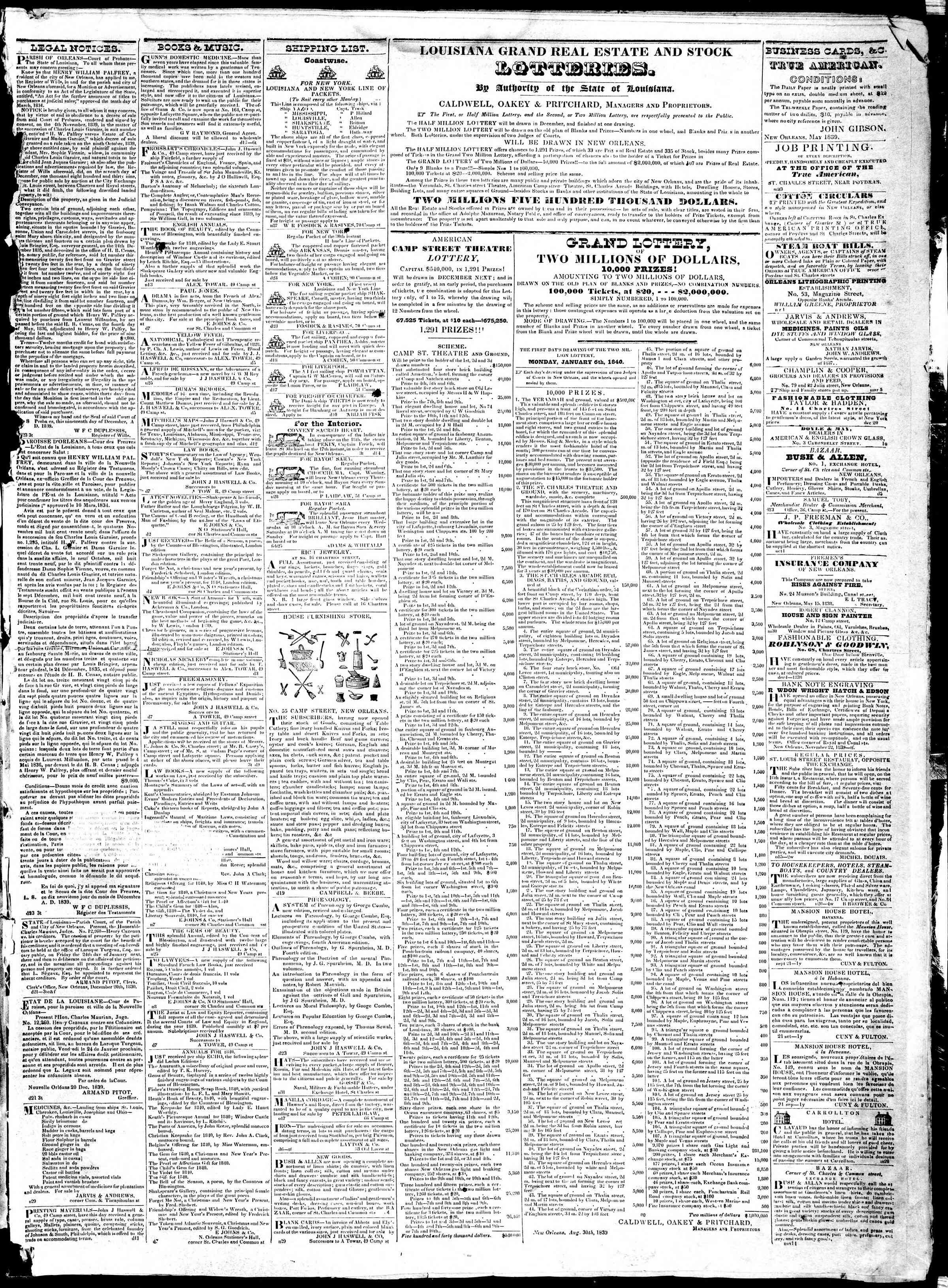 December 24, 1839 Tarihli True American Gazetesi Sayfa 3