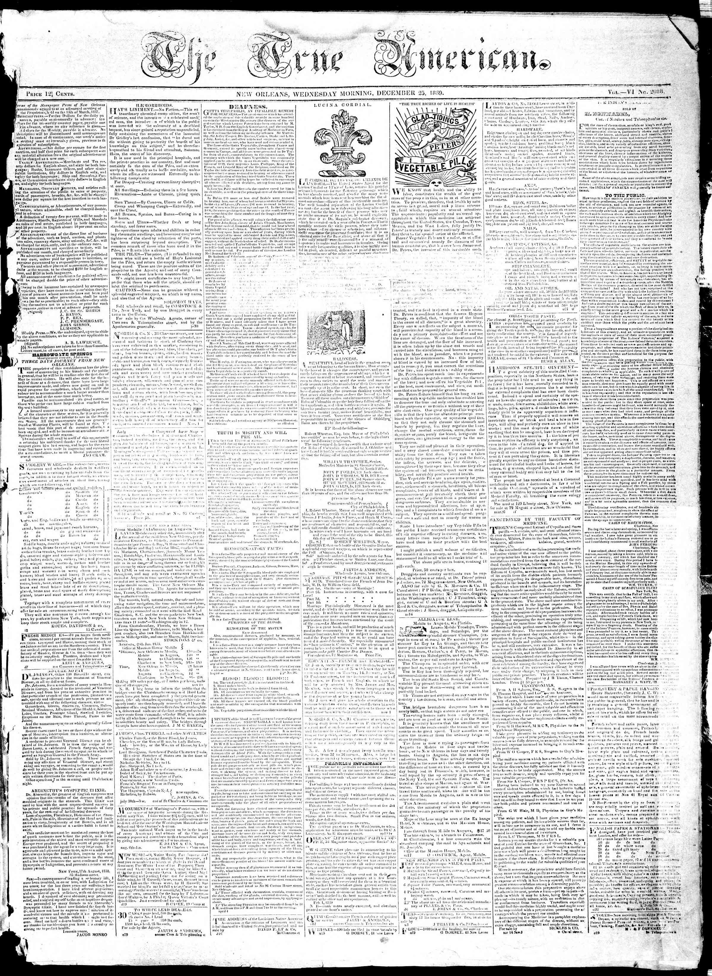 December 25, 1839 Tarihli True American Gazetesi Sayfa 1