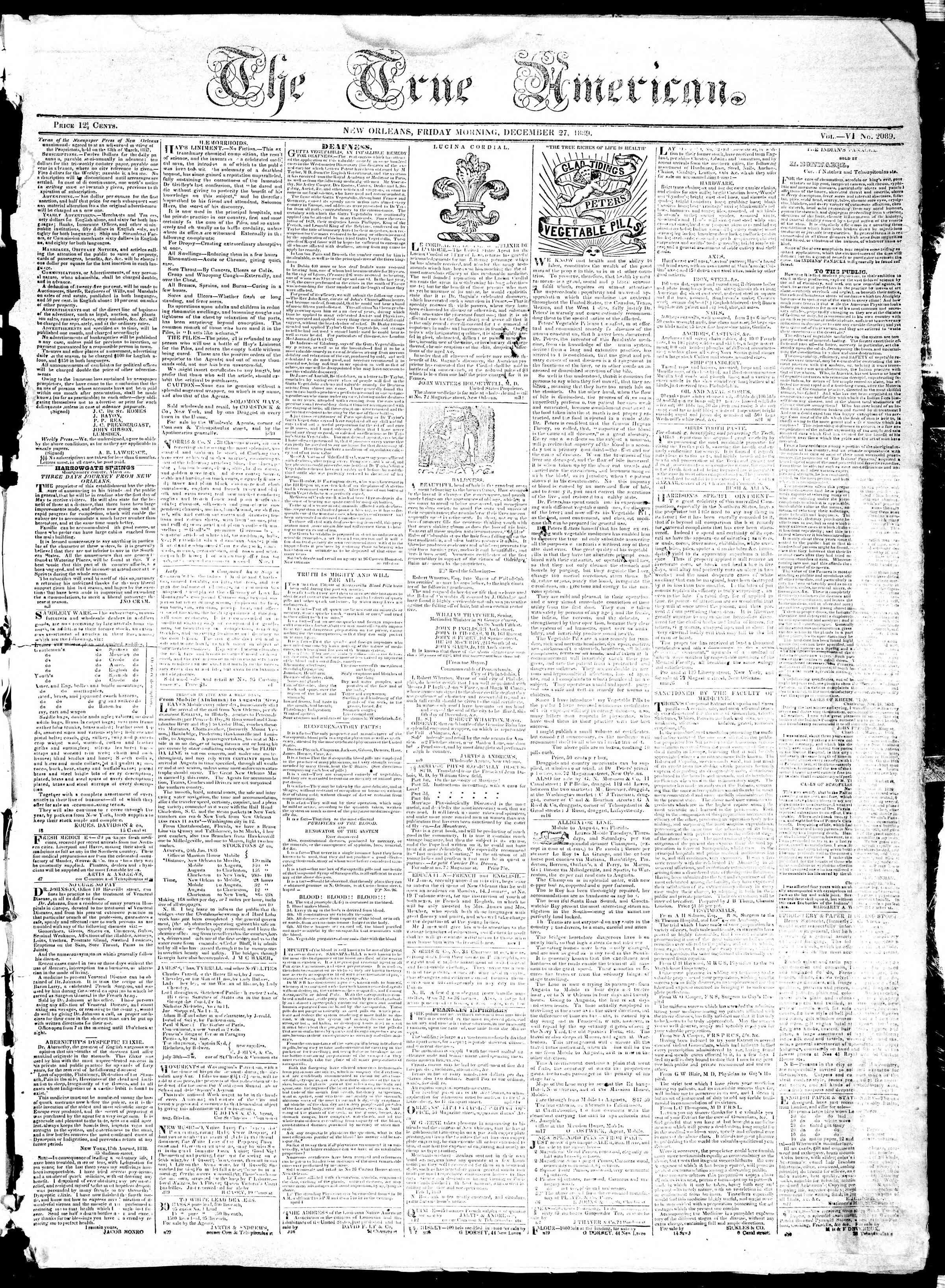 December 27, 1839 Tarihli True American Gazetesi Sayfa 1