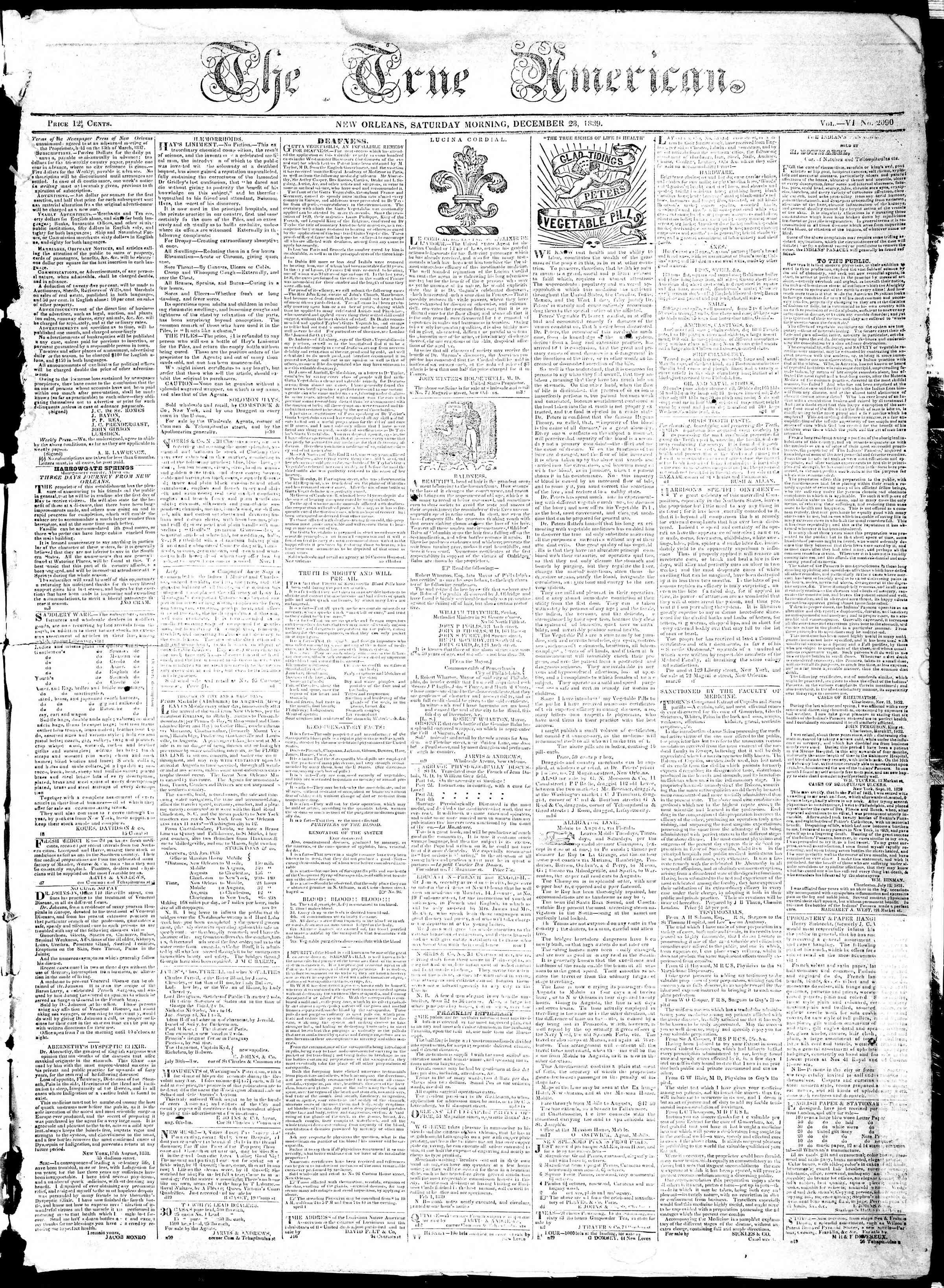 December 28, 1839 Tarihli True American Gazetesi Sayfa 1