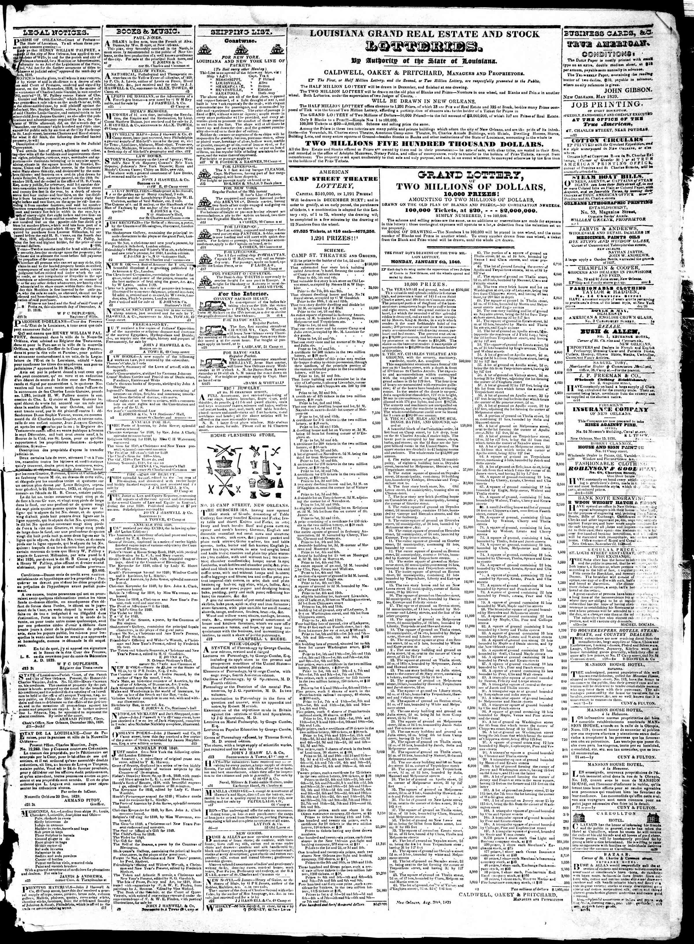 December 28, 1839 Tarihli True American Gazetesi Sayfa 3